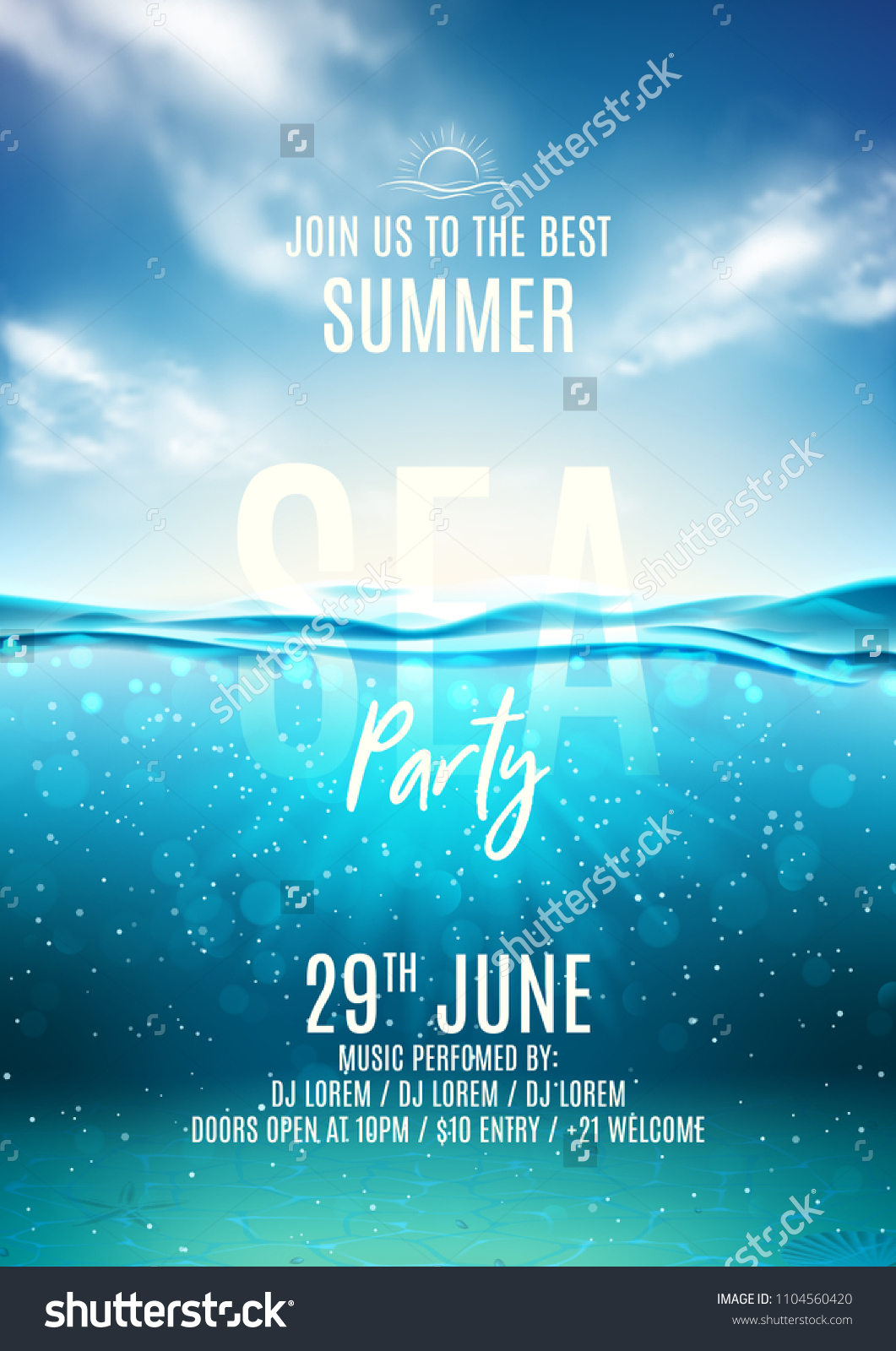 Summer sea party poster template. Vector illustration with deep underwater ocean scene. Background with realistic clouds and marine horizon. Invitation to nightclub.
