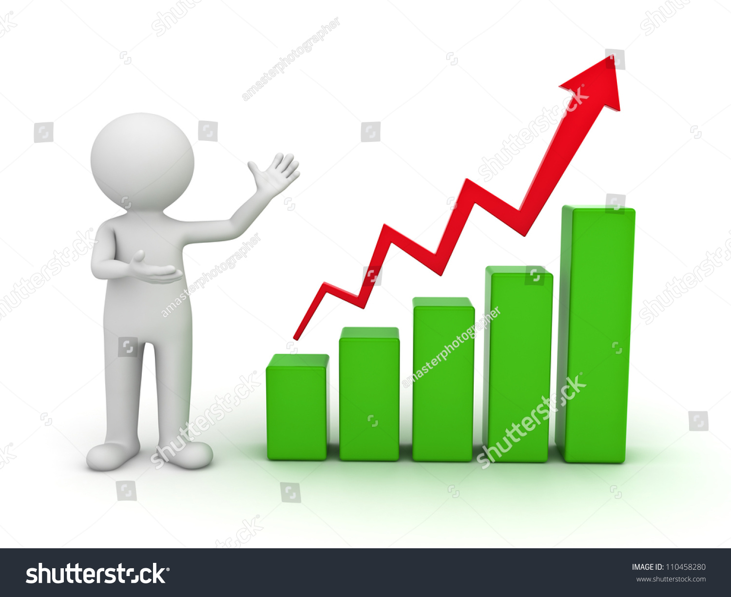 3d Man Presenting Business Growth Chart Stock Illustration ...