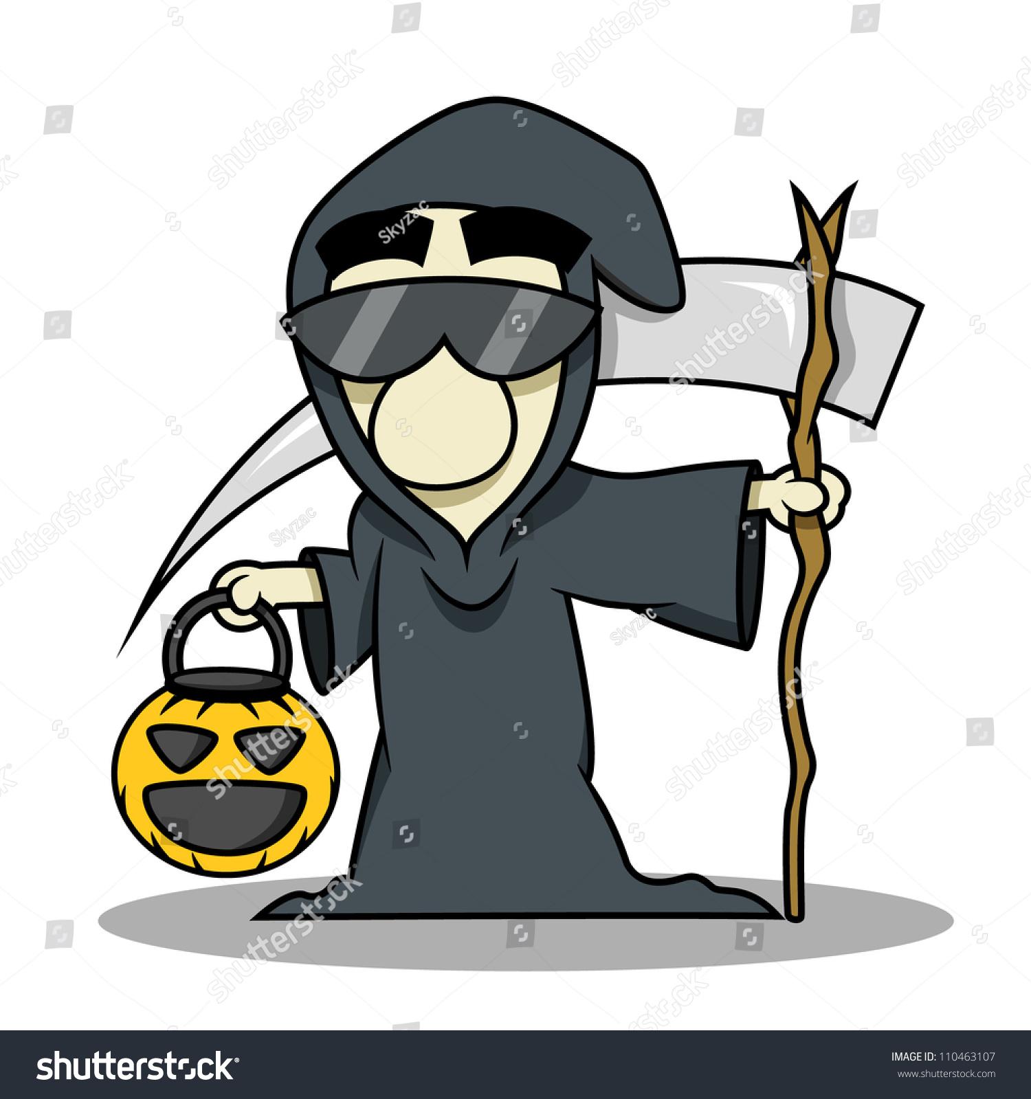 People Wear Death Reaper Costume Halloween Stock Vector 110463107 ...