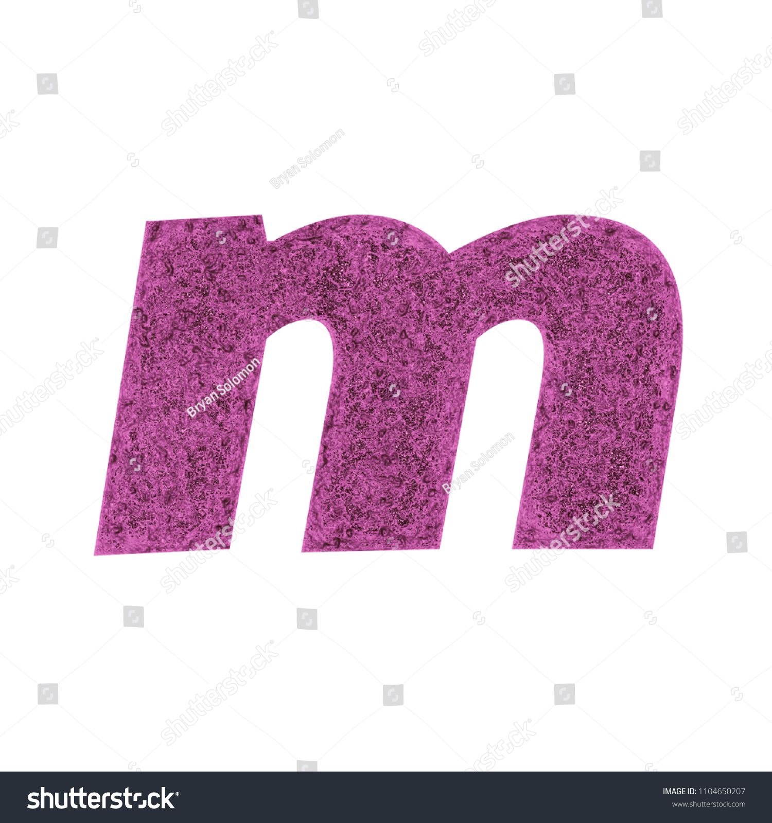 Distressed Pink Metal Letter M Lowercase Stock Illustration ...