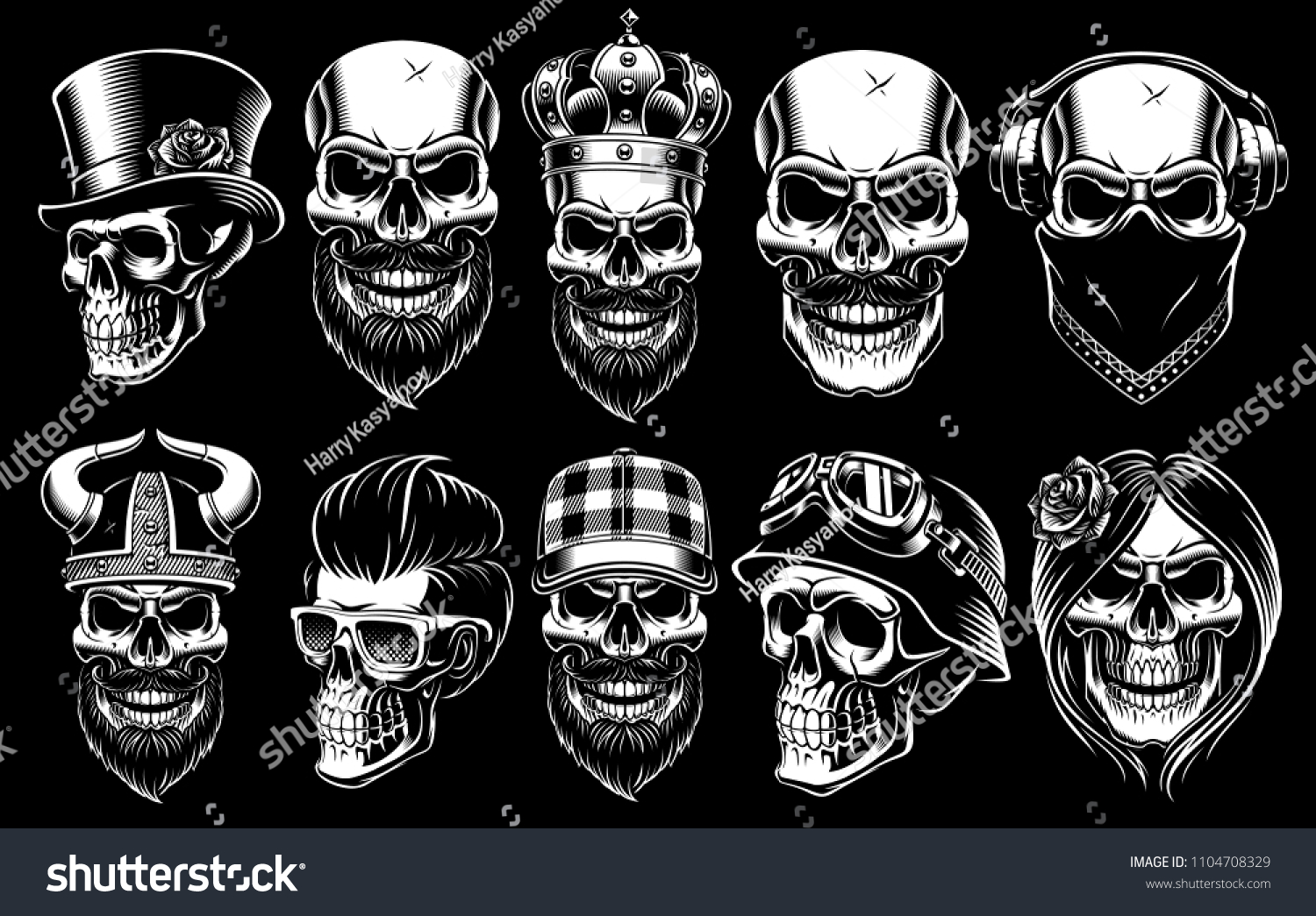 Set of different skulls shirt designs badges stickers with viking king gentleman barber biker and other isolated black and white illustrations