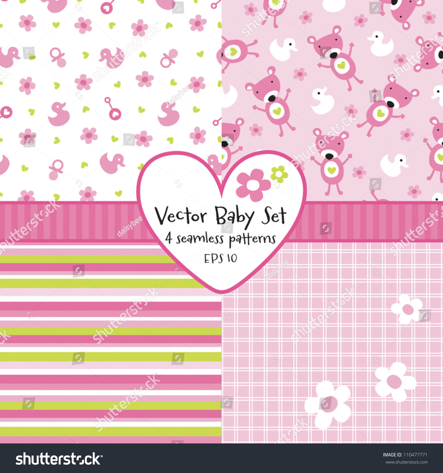 Vector set 4 seamless baby girl stock vector 110477771 shutterstock vector set of 4 seamless baby girl background patterns great for greeting cards baby kristyandbryce Image collections