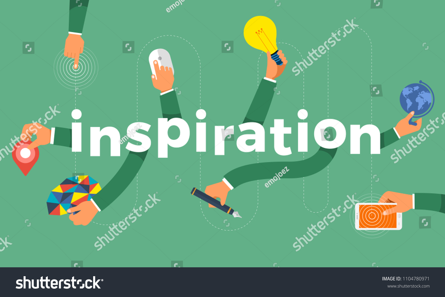 Flat Design Concept Hand Create Symbol Icon And Words Inspiration Vector Illustrations