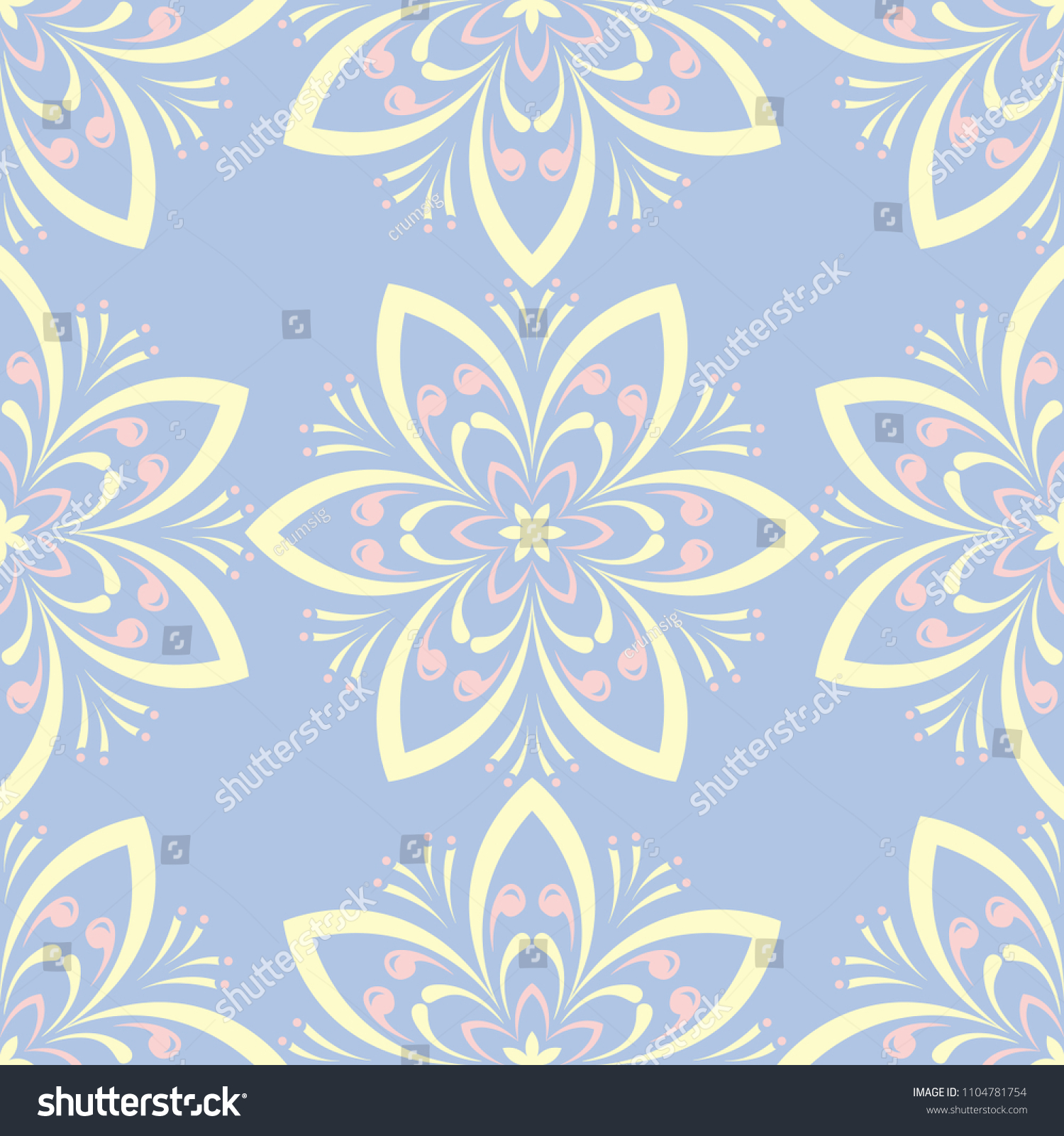 Floral Seamless Pattern Pale Blue Background Stock Vector Royalty