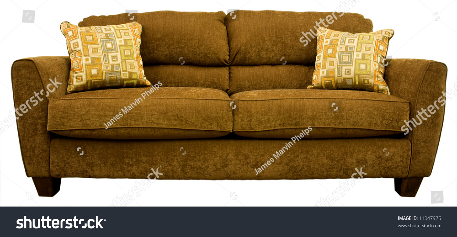 Contemporary Living Room Sofa With Colorful Throw Pillows