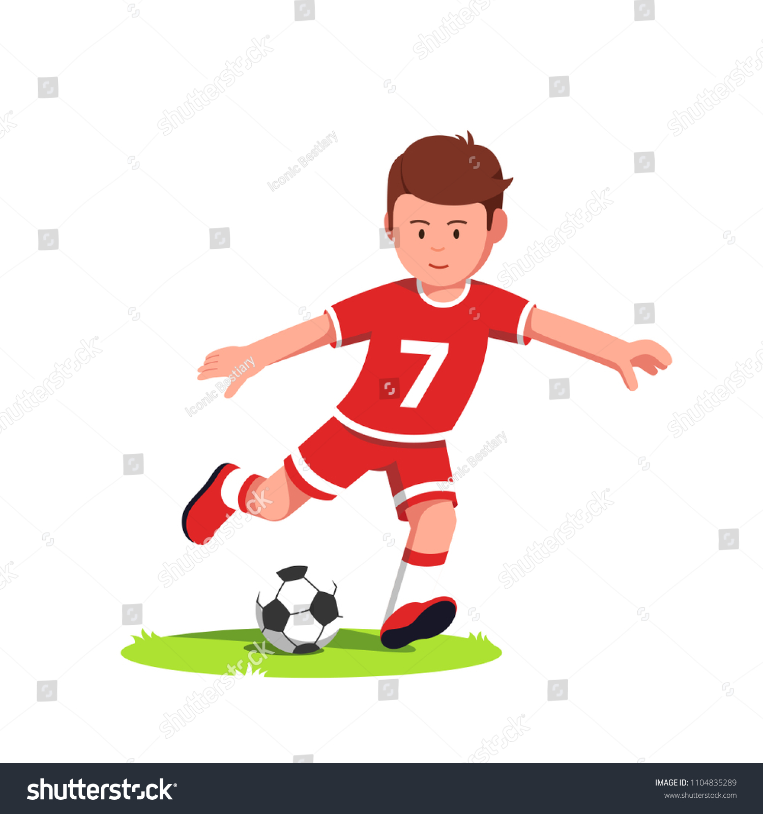 teenage soccer player boy playing kicking stock vector (royalty free