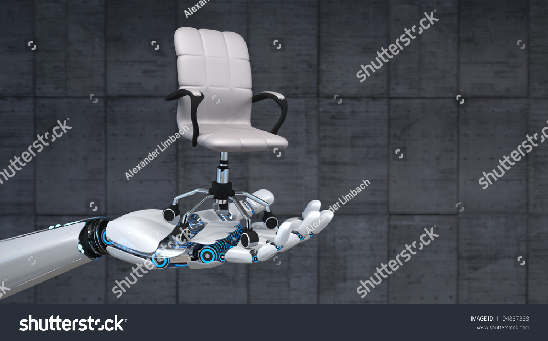 Phenomenal Hand Robot Swivel Chair On Concrete Stock Illustration Theyellowbook Wood Chair Design Ideas Theyellowbookinfo