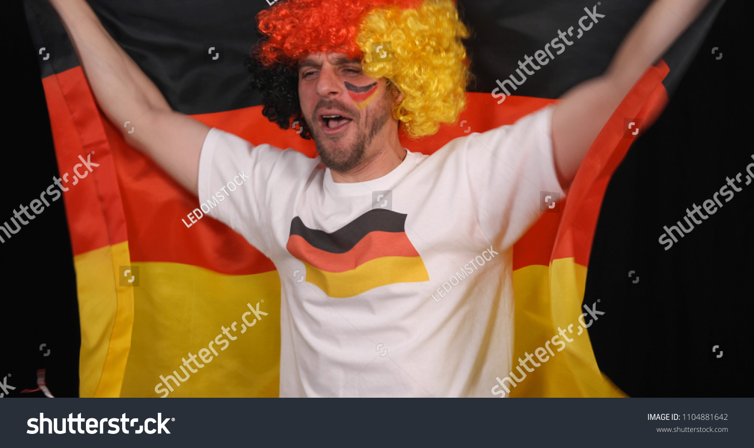 German Supporter Man Amateur Have Happiness Sports Recreation