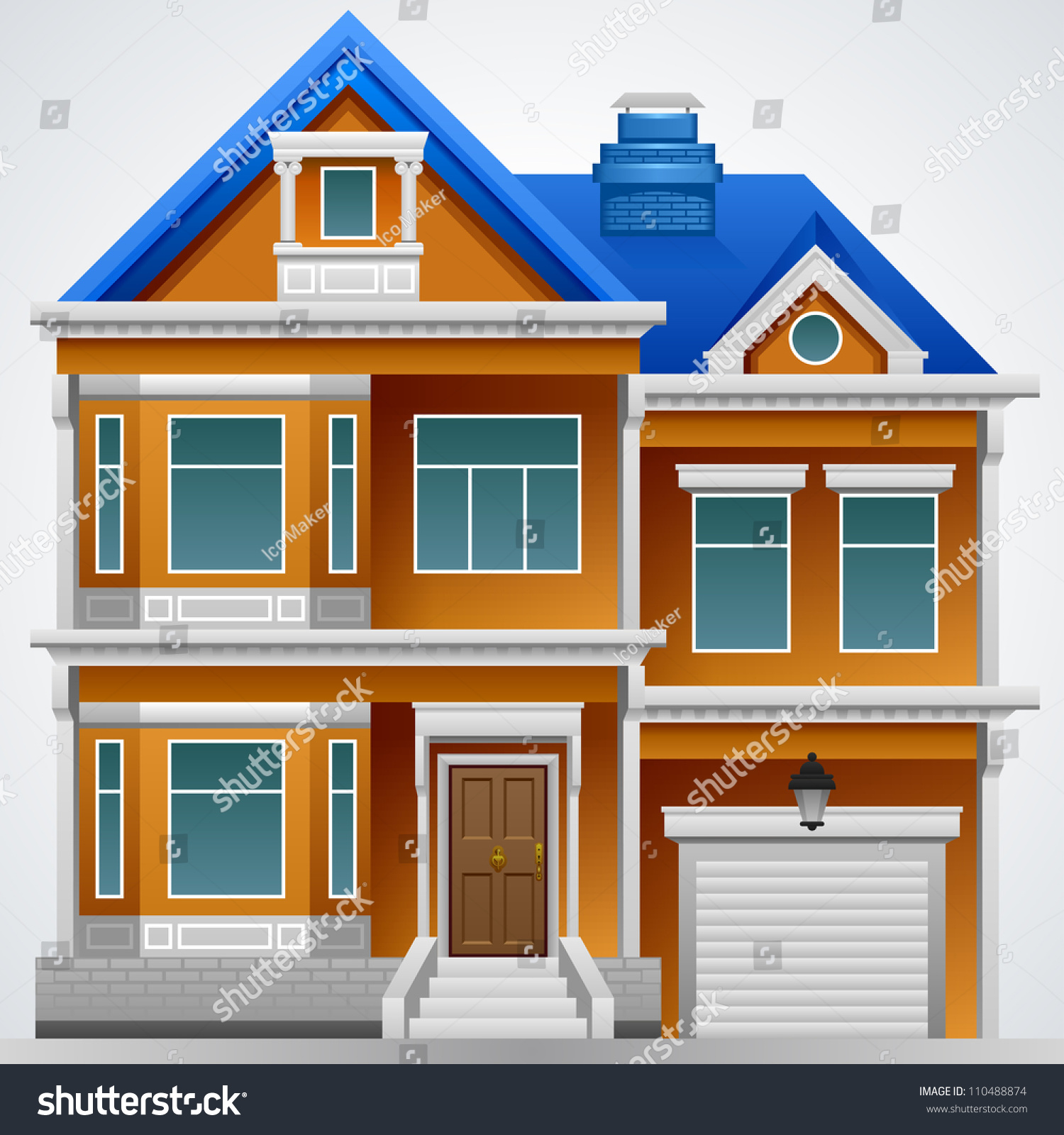 Beautiful house vector image detailed drawing stock vector for Beautiful house music