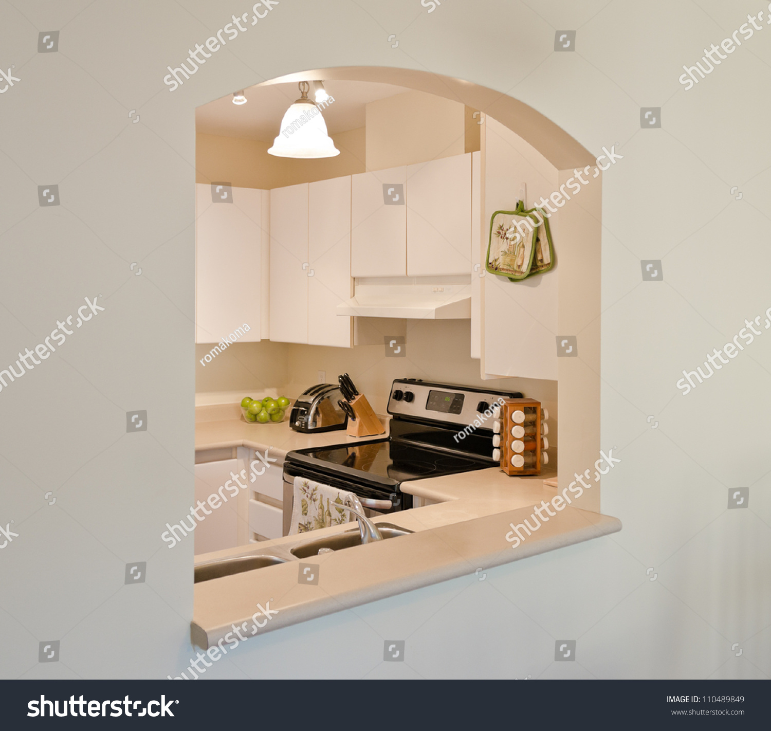 Modern Kitchen Through The Arch. Stock Photo 110489849