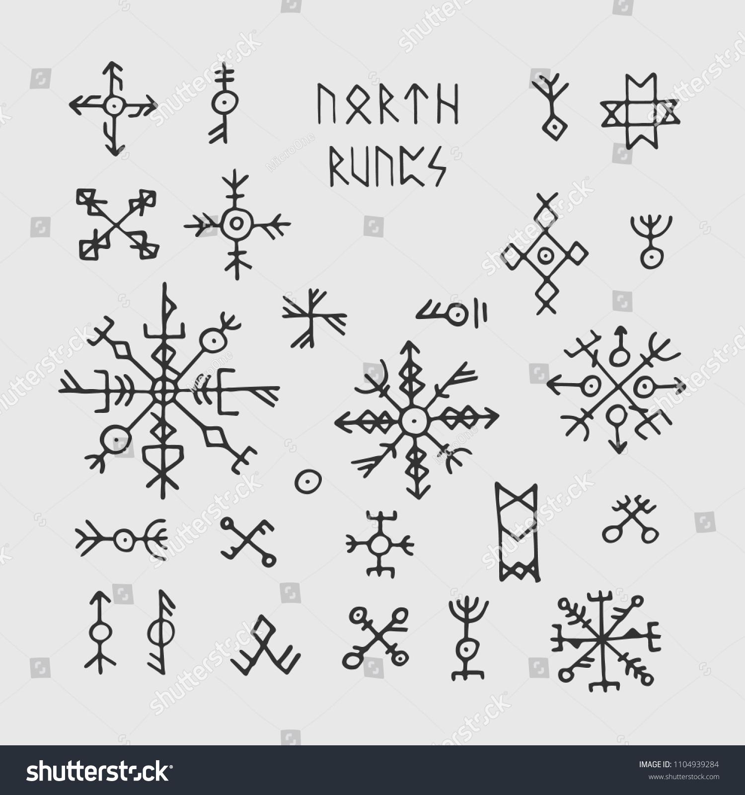 Futhark Norse Viking Runes Talismans Nordic Stock Vector Royalty