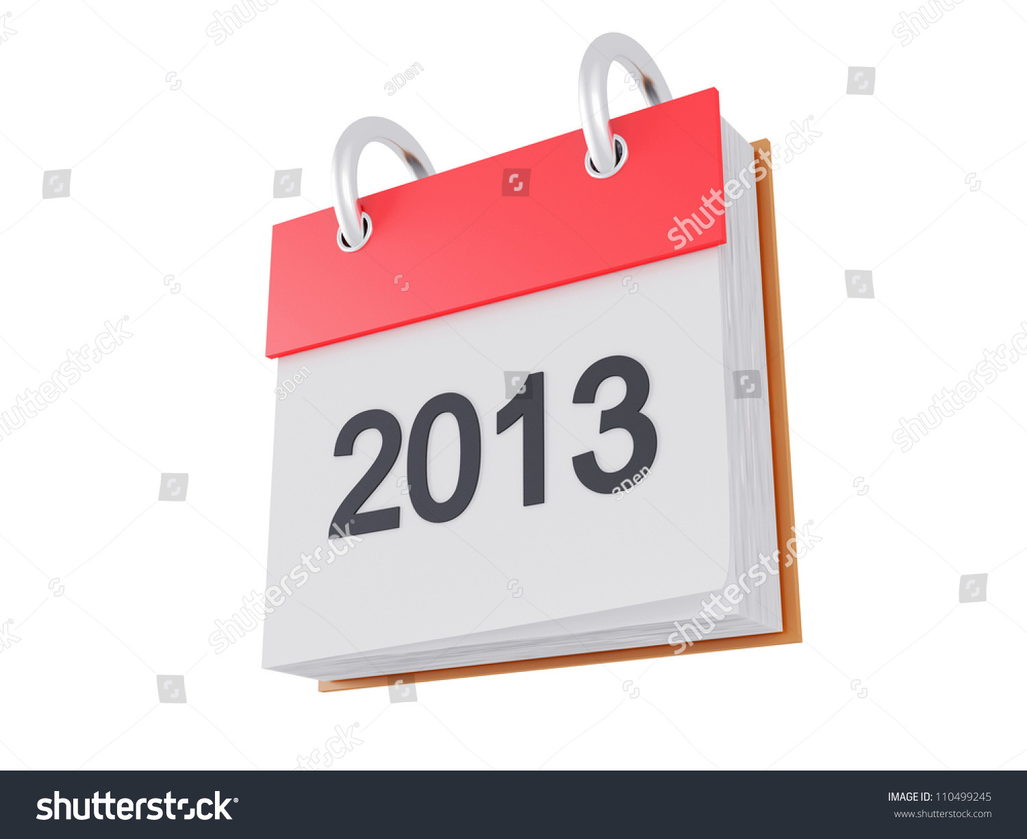 Red Calendar 2013 Icon 3d Render Isolated On White