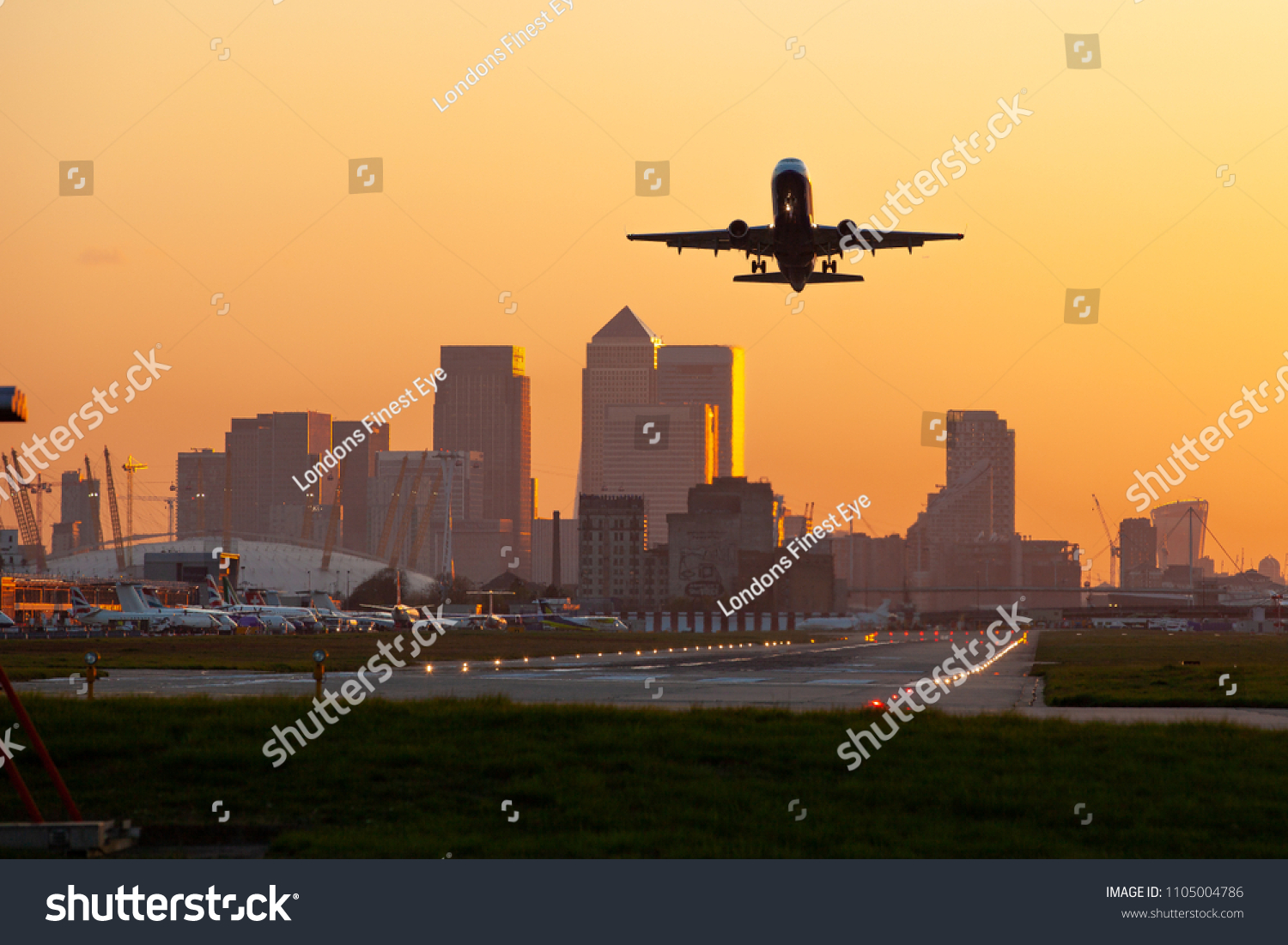 london city airport with canary wharf #1105004786
