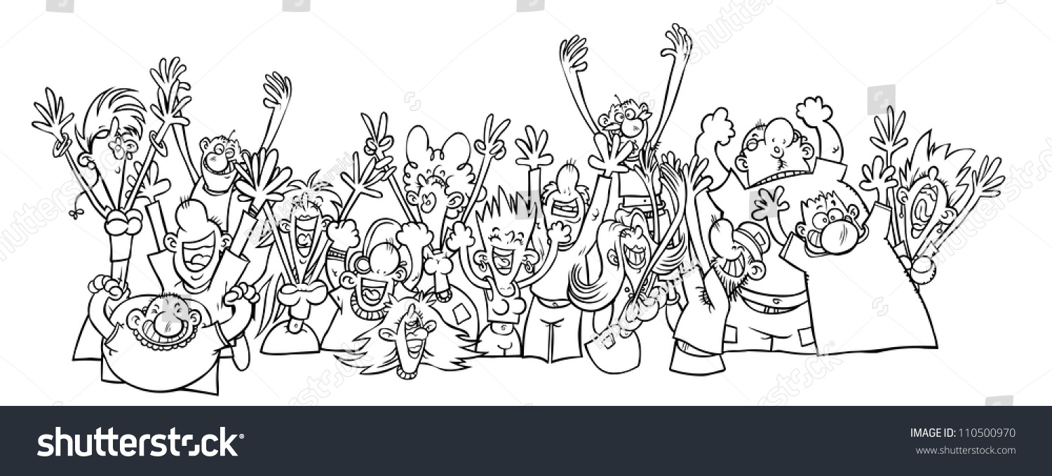 Grass Outline Vector Cartoon Party People O...