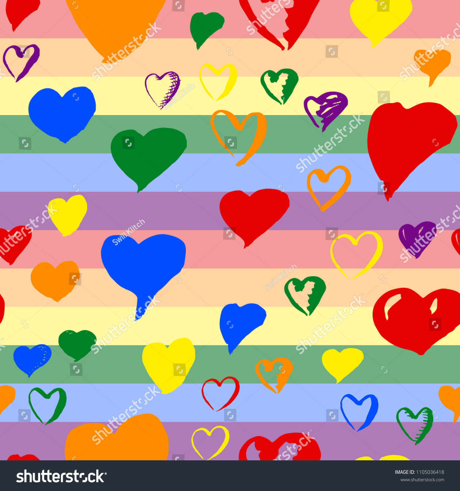 Gay Pride Rainbow Colored Pattern With Hearts For Valentines Day