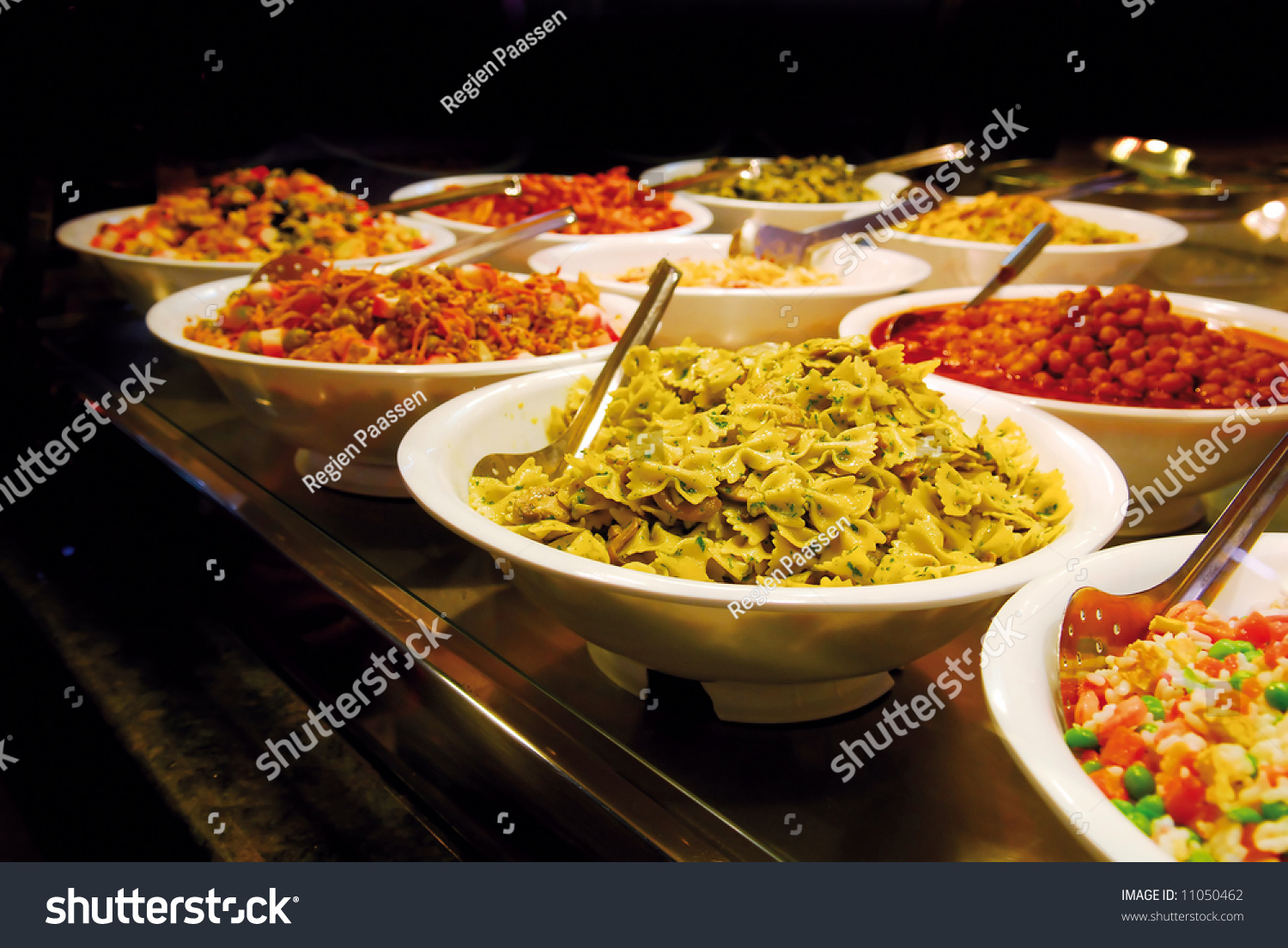 Buffet Butterfly Shaped Pasta Vegetables Meat Stock Photo
