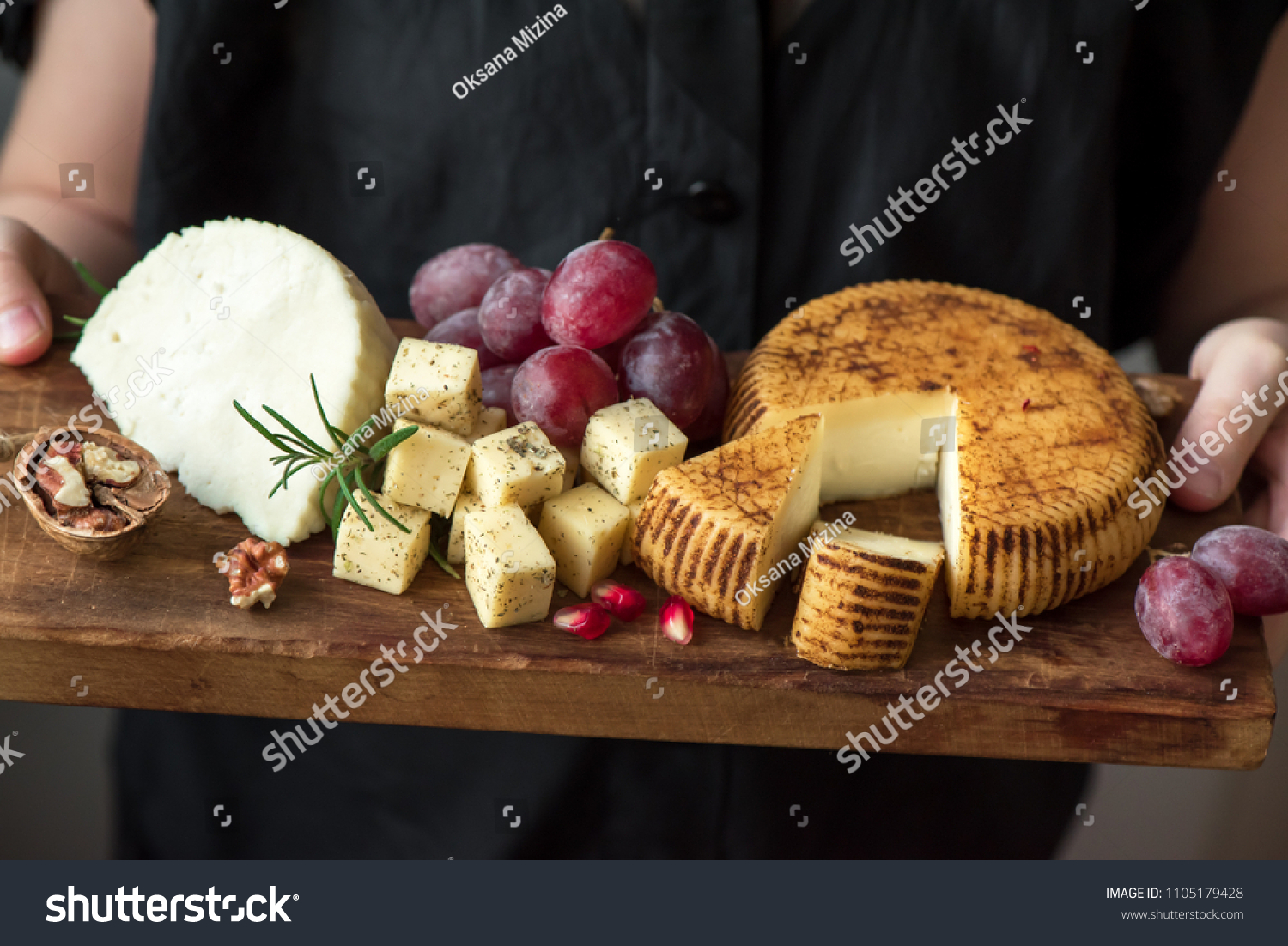 Cheese Platter Assorted Cheeses Grapes Nuts Stock Photo Edit Now 1105179428