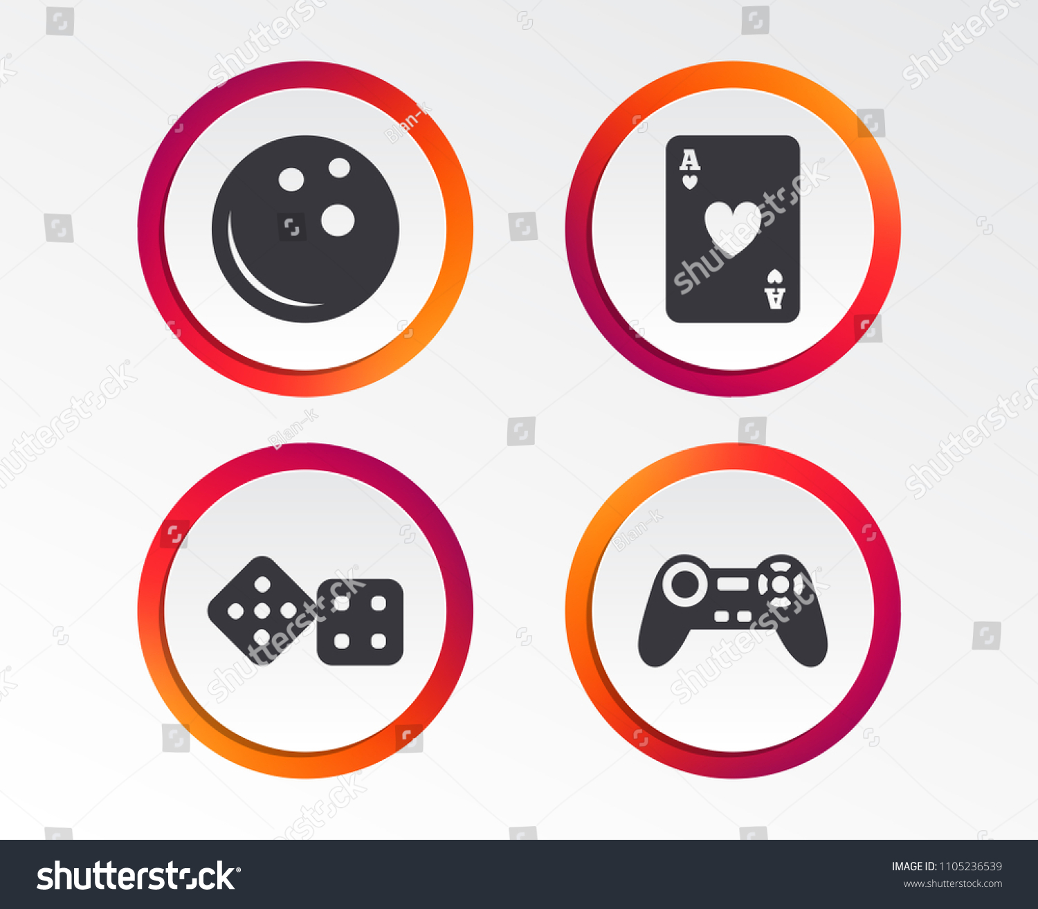Video Game Joystick And Playing Card With Dice Symbols Entertainment