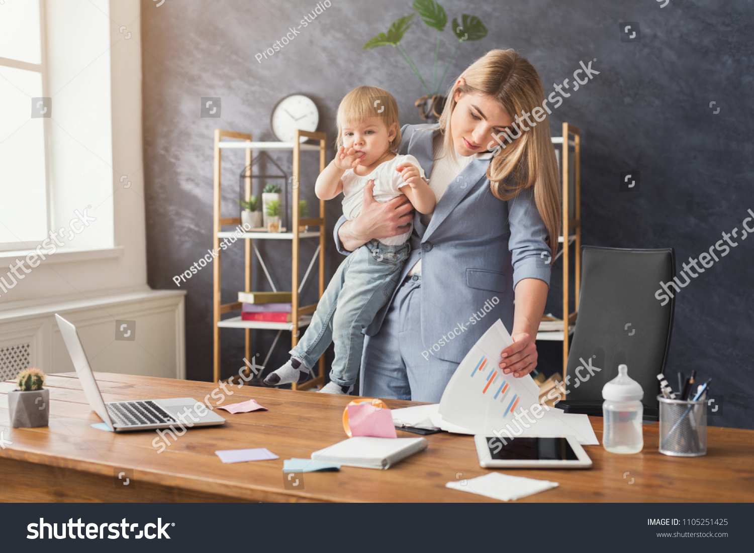 Happy Mother Working Office Her Baby Stock Photo (Edit Now) 1105251425