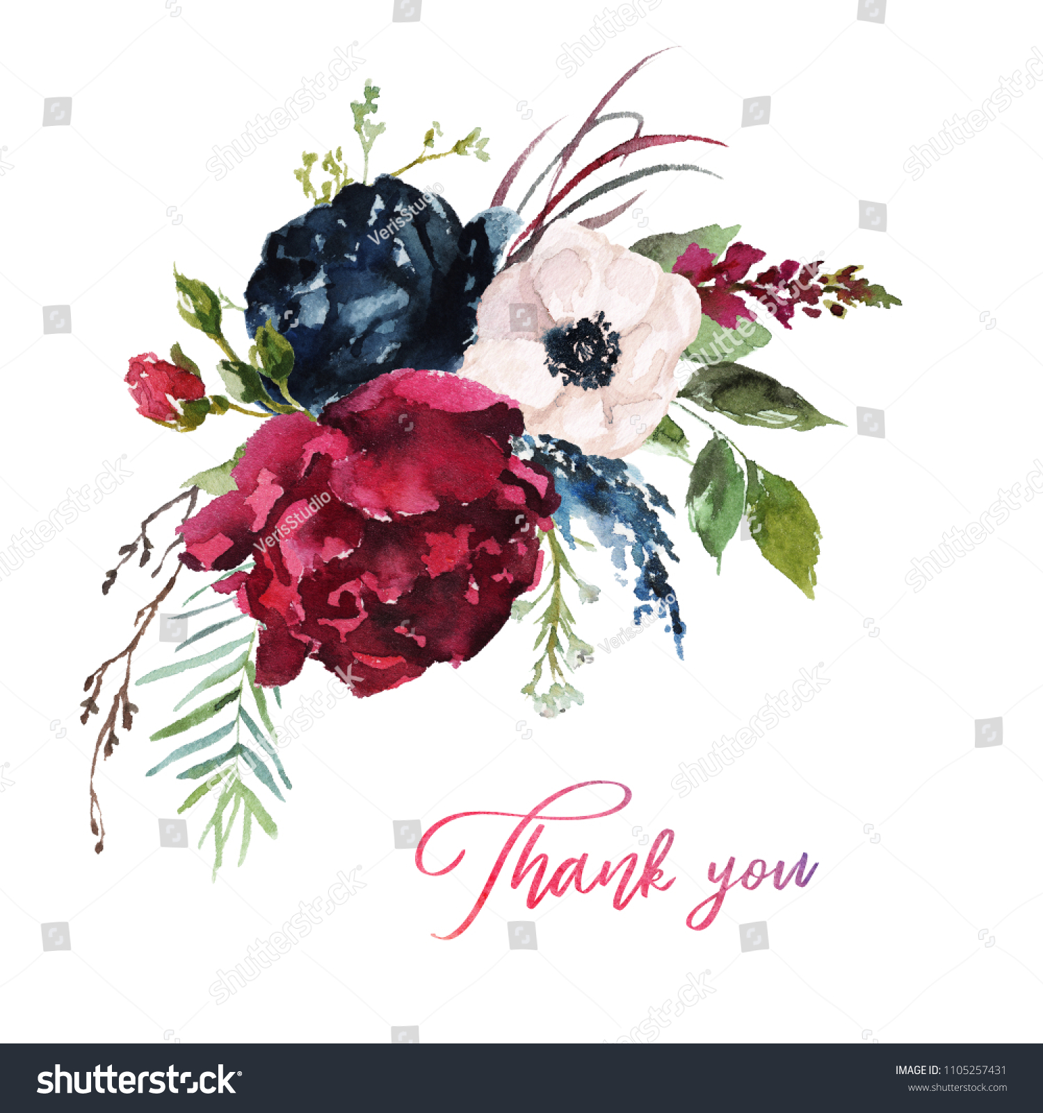 Watercolor Floral Illustration Flowers Burgundy Bouquet Stock Illustration 1105257431