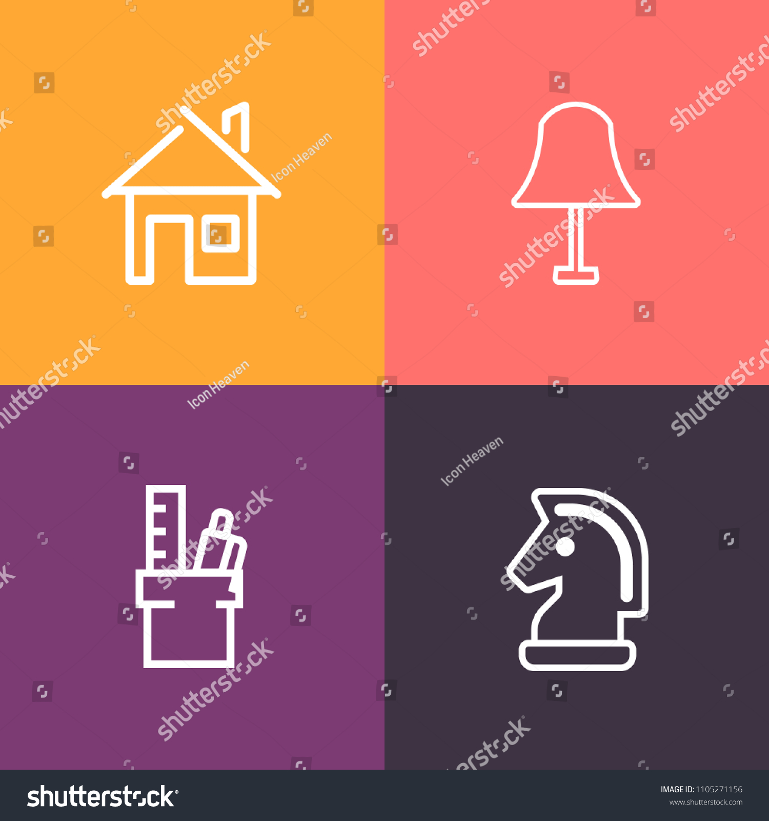 Modern Simple Vector Icon Set On Stock Royalty Free Residential Wiring Colorful Background With Strategy Decoration House