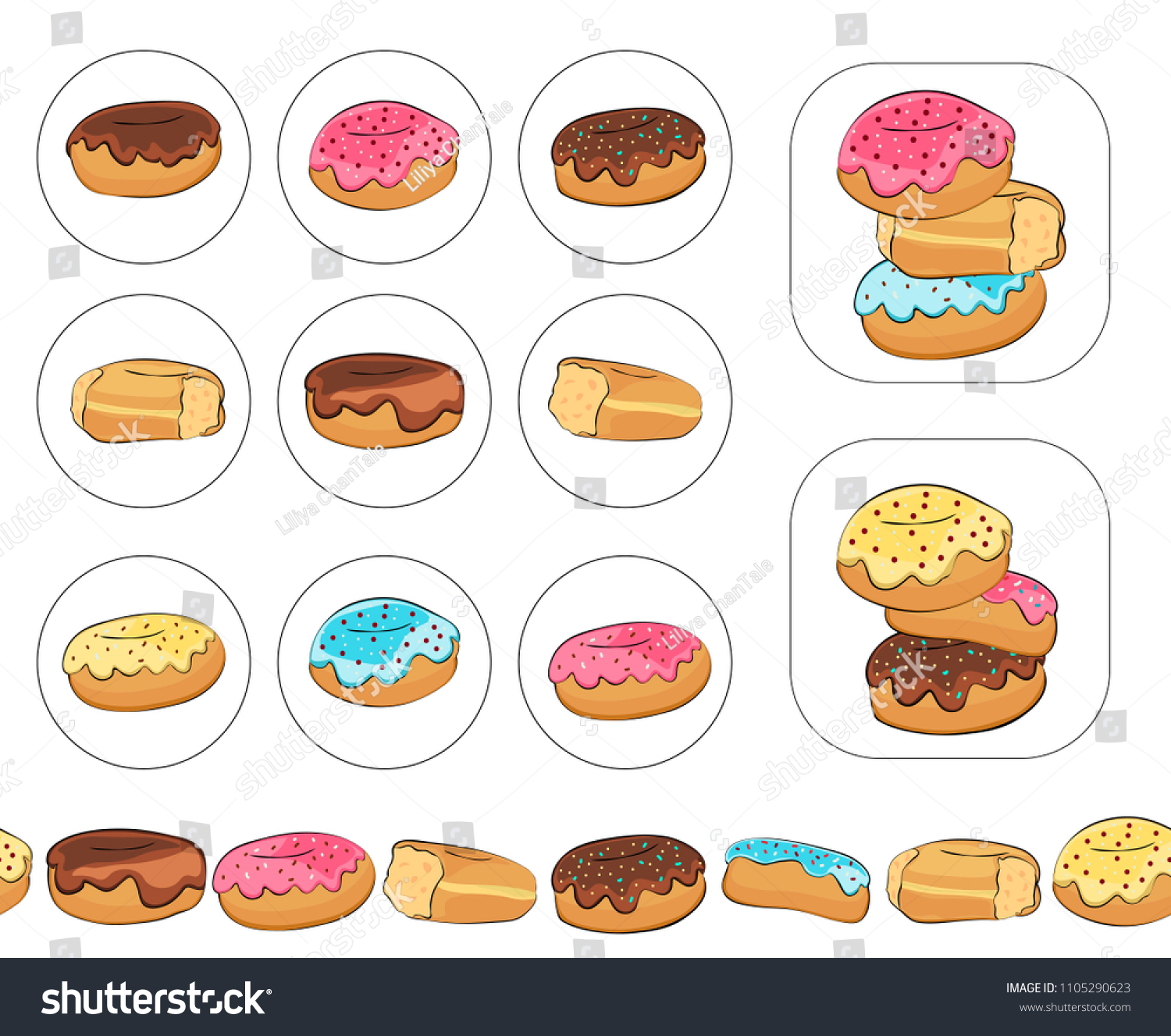 set color labels donuts chocolate donuts stock vector (royalty free