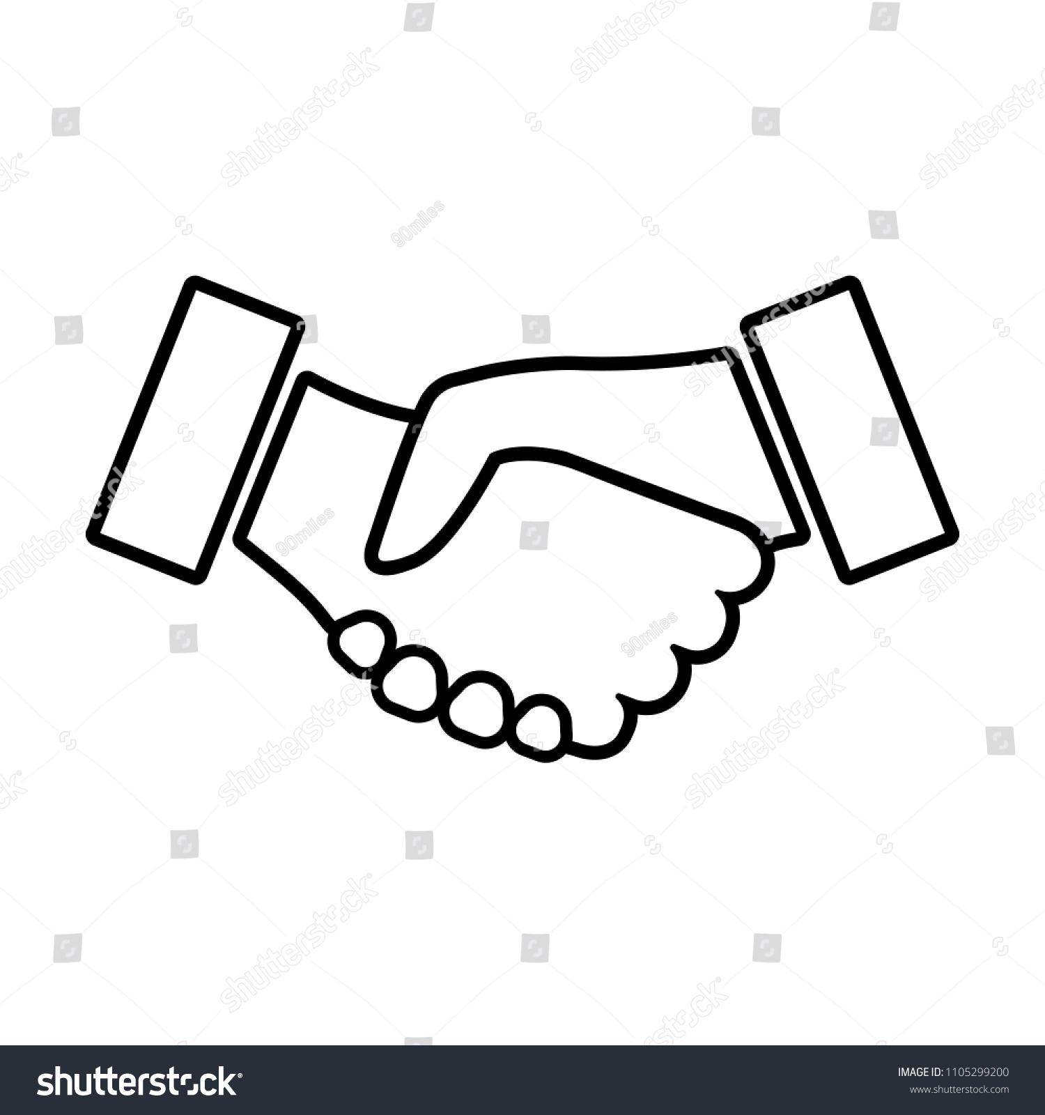 Handshake Line Icon Two Hands Shaking Stock Illustration 1105299200