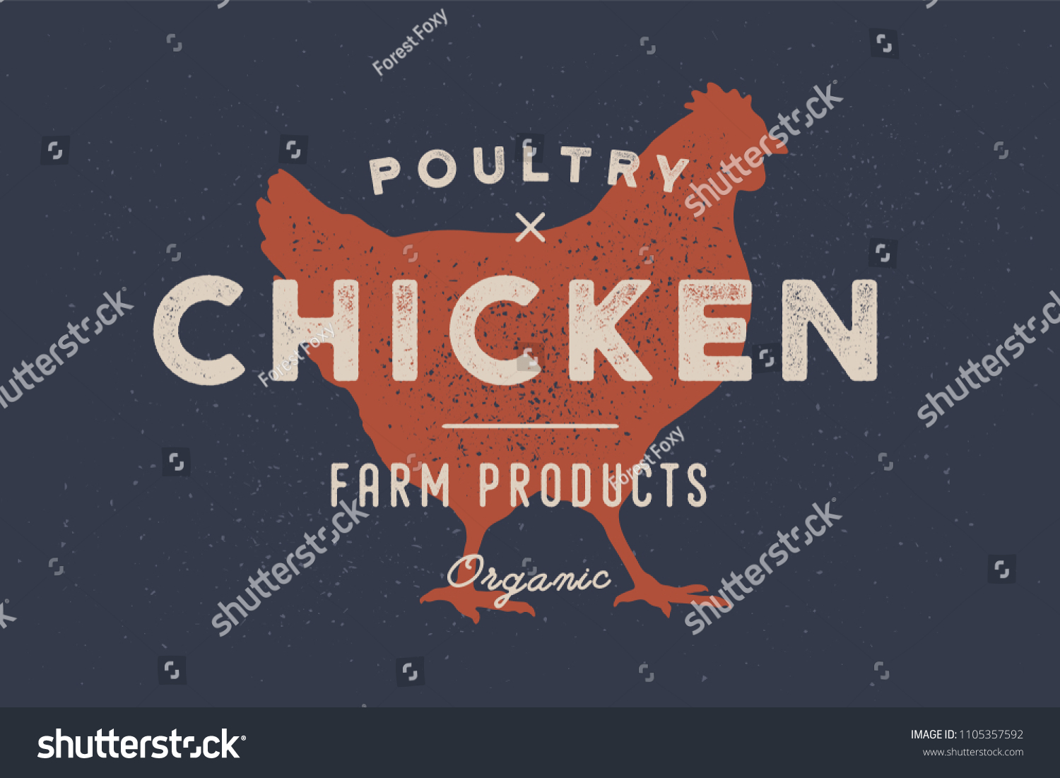 Chicken, poultry. Vintage logo, retro print, poster for Butchery meat shop with text, typography Poultry, Chicken, Farm Products, Organic and chicken silhouette. Logo template. Vector Illustration
