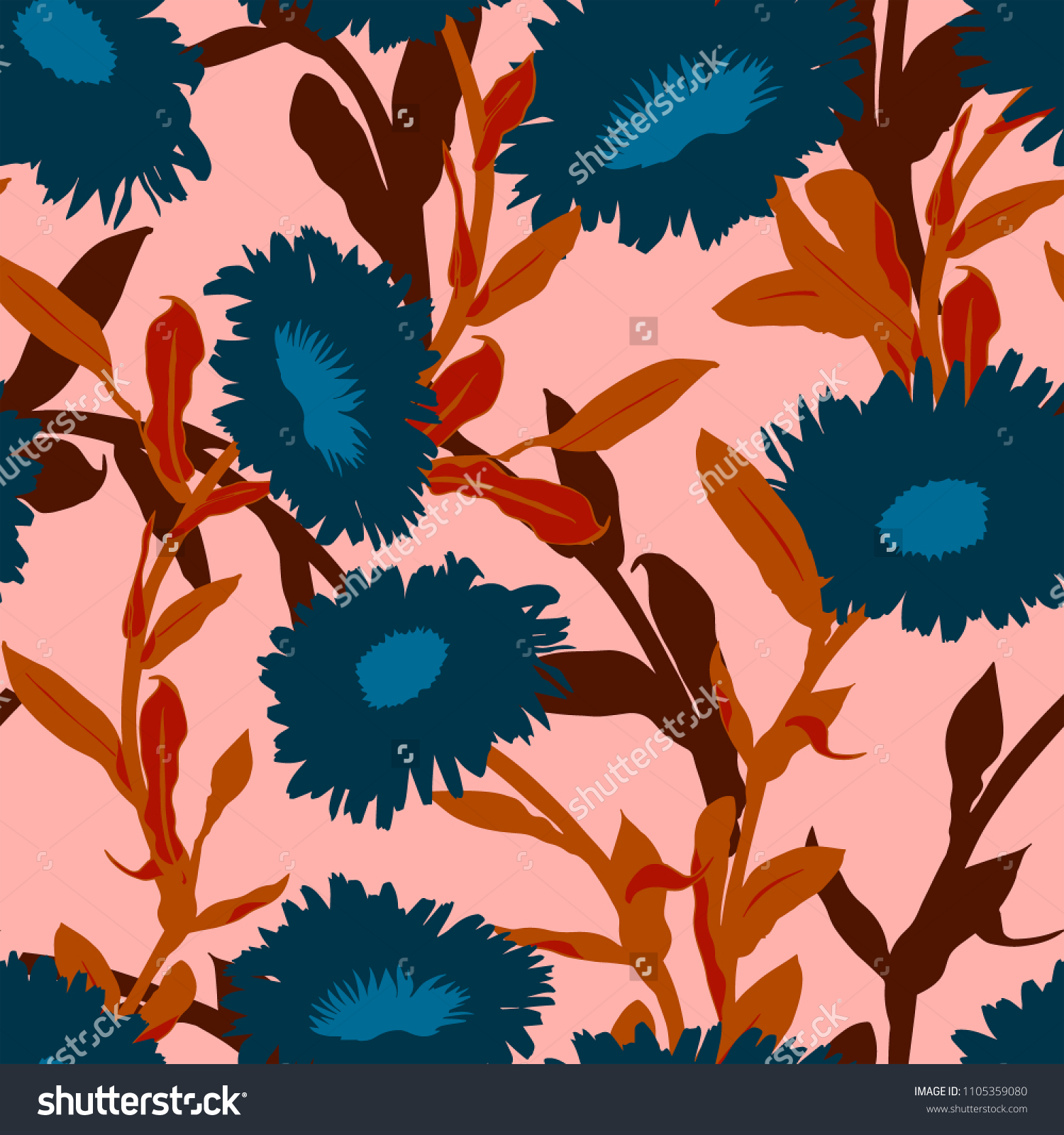 Vivid Floral Pattern Bold Flowers Seamless Nature Stock Image
