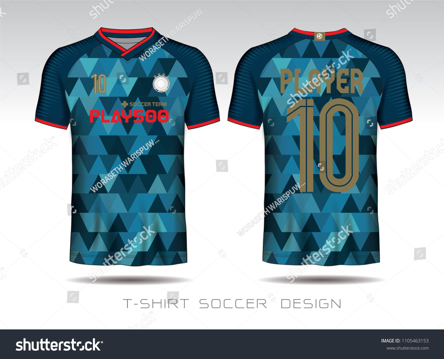Soccer Jersey Template Blue Layout Football Stock Vector Royalty