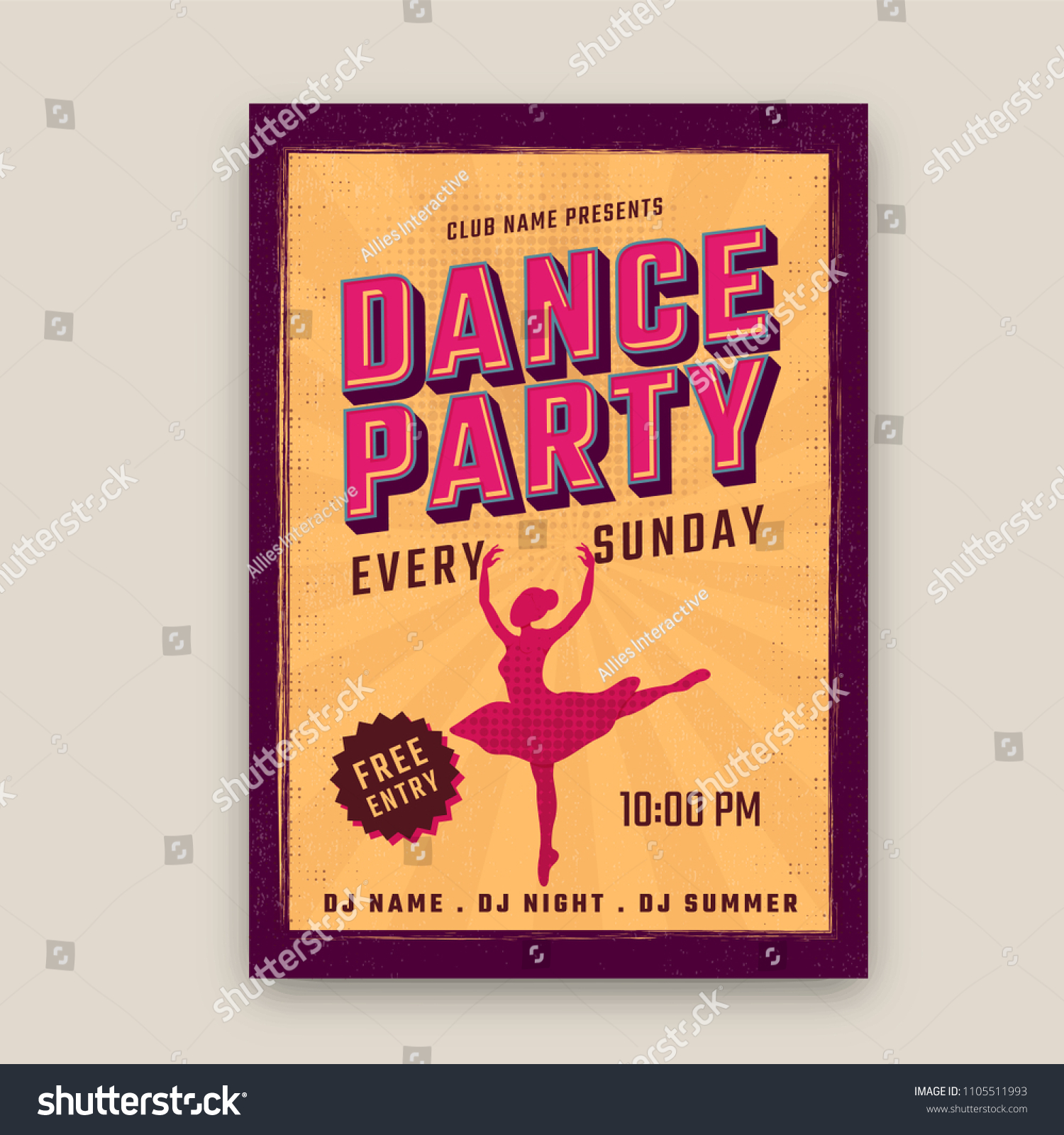 Retro Dance Party Poster Design Night Stock Vector Royalty Free 1105511993