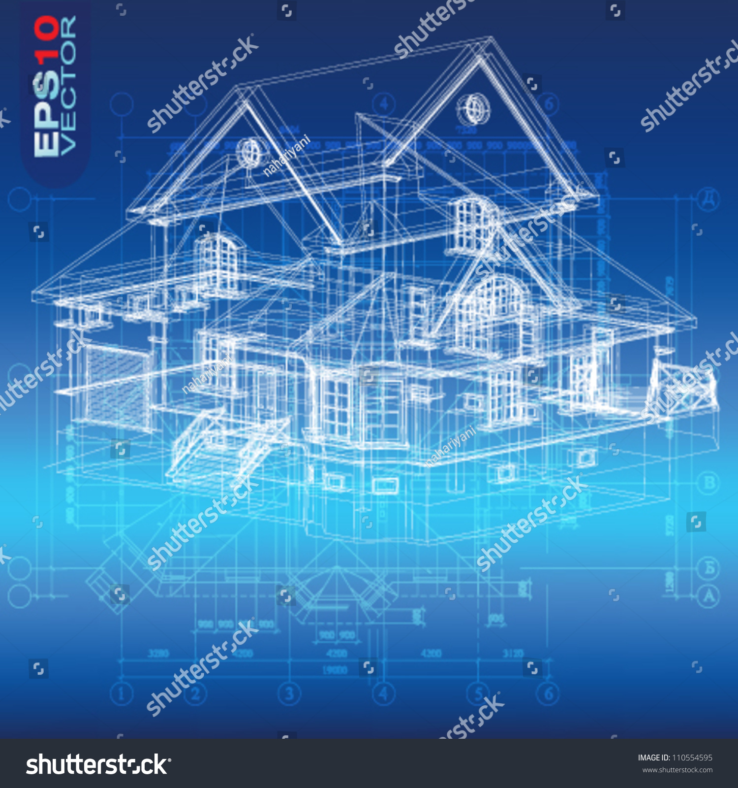 Urban Blueprint Vector Architectural Background Part Stock