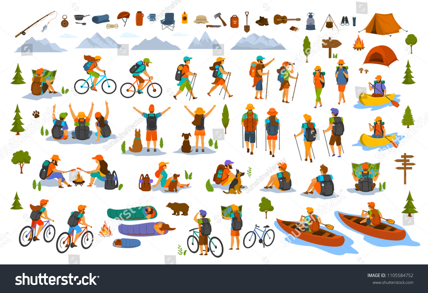collection of hiking trekking people. young man woman couple hikers travel outdoors with mountain bikes kayaks camping, search location on map, sightseeing discover nature. isolated graphics set