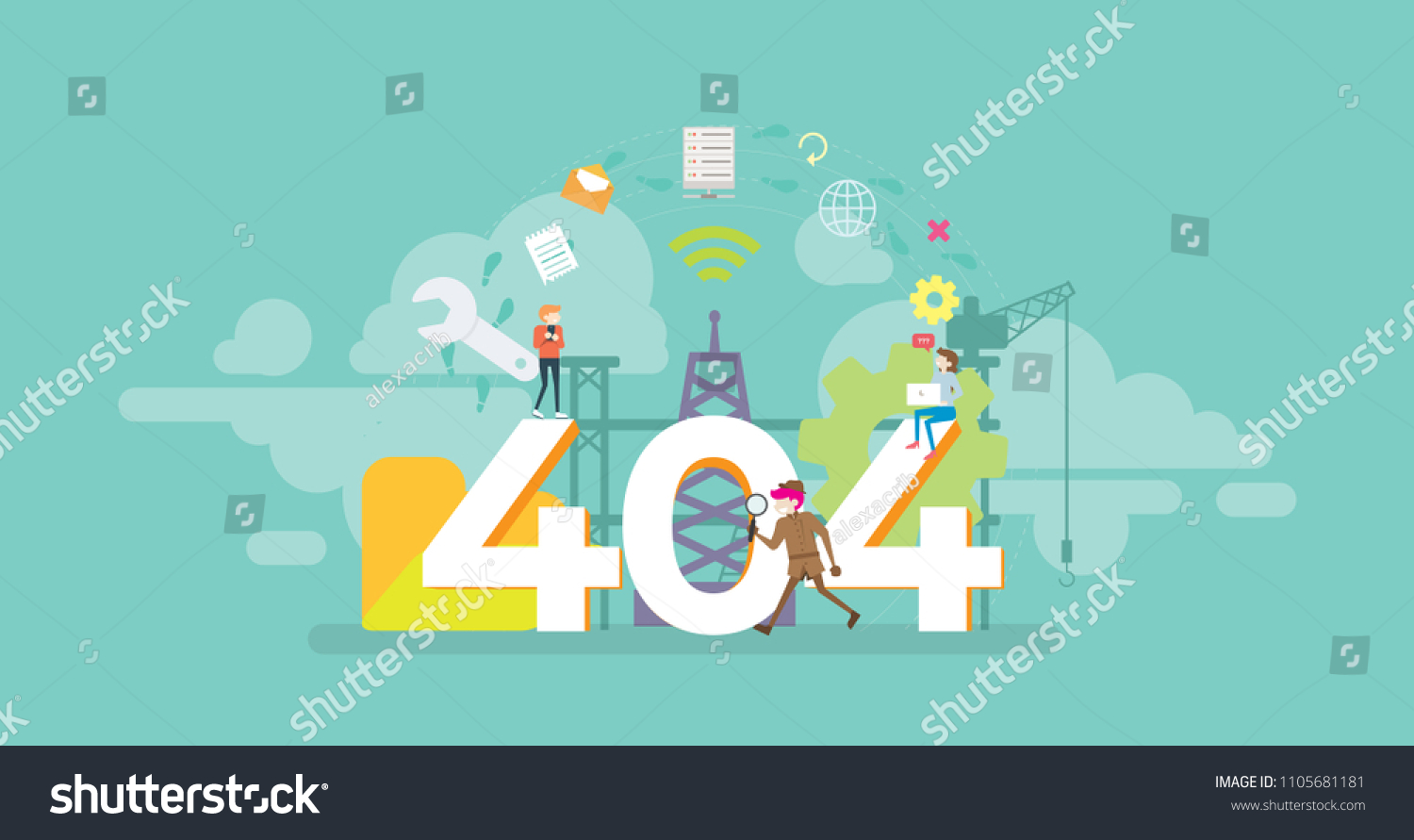 404 error page not found tiny stock vector royalty free 1105681181