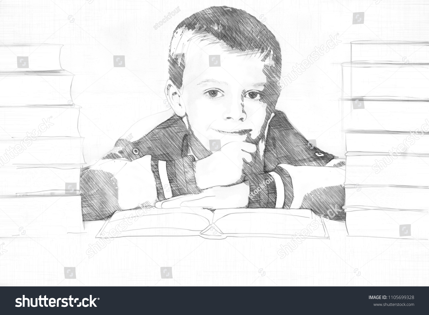 Pencil sketch of a little boy in school flanked by two piles of textbooks putting on