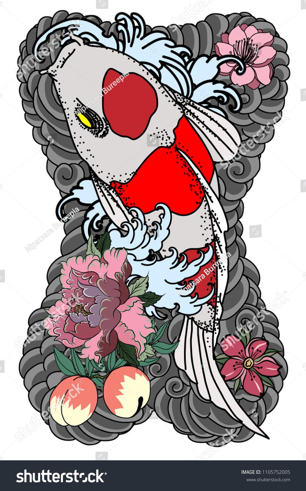 Beautiful Hand Drawn Coloring Book Koi Stock Vector 1105752005 ...