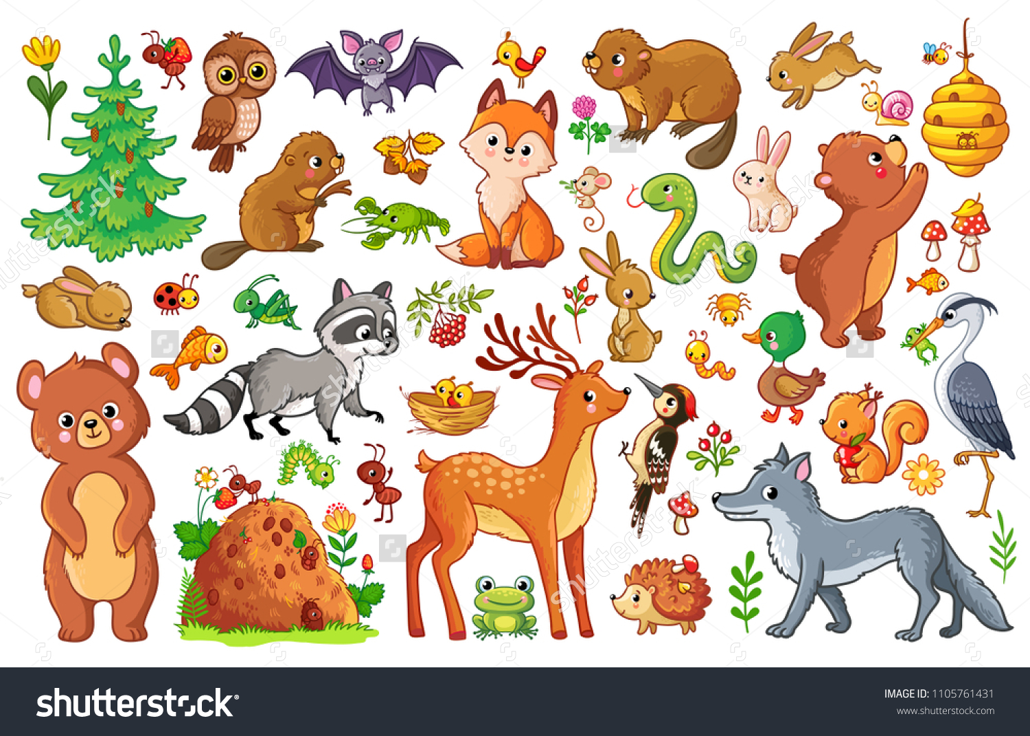 Vector set with animals and birds in a children's style. Collection of insects and mammals in cartoon style. #1105761431