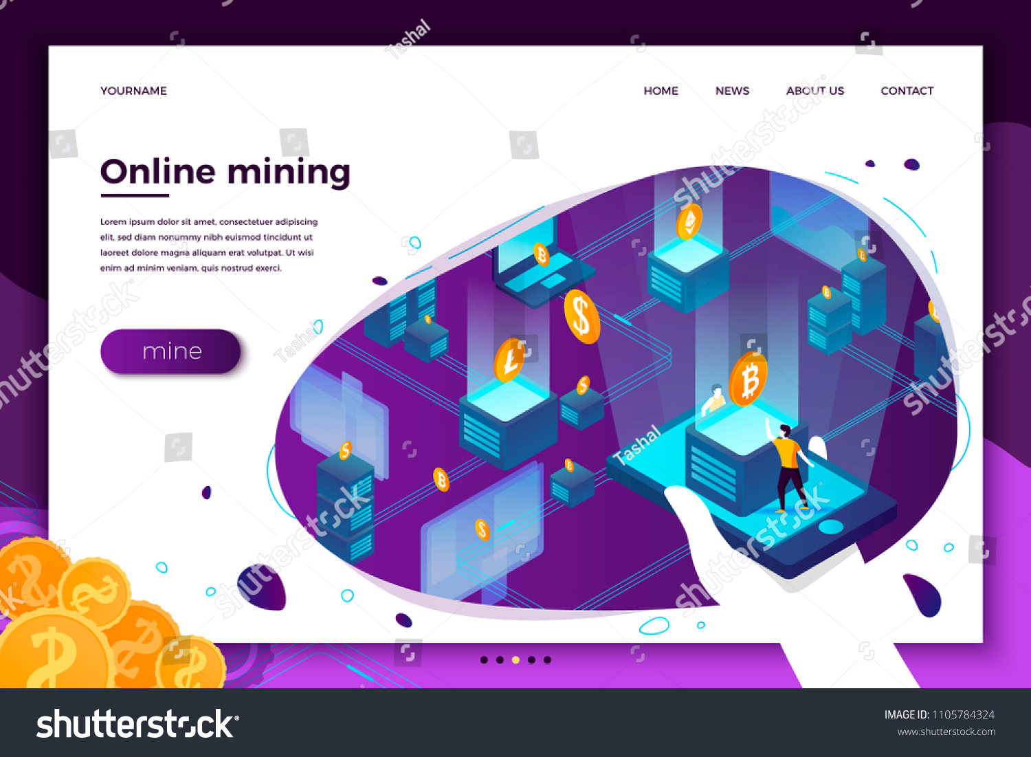 Vector Concept Illustration Cryptocurrency Mining Farm Stock