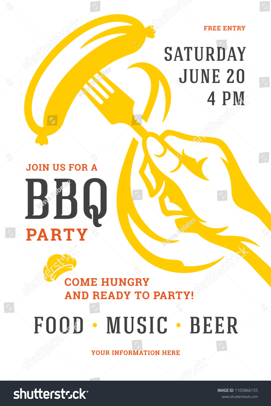 barbecue party vector flyer or poster design template bbq cookout event retro typography
