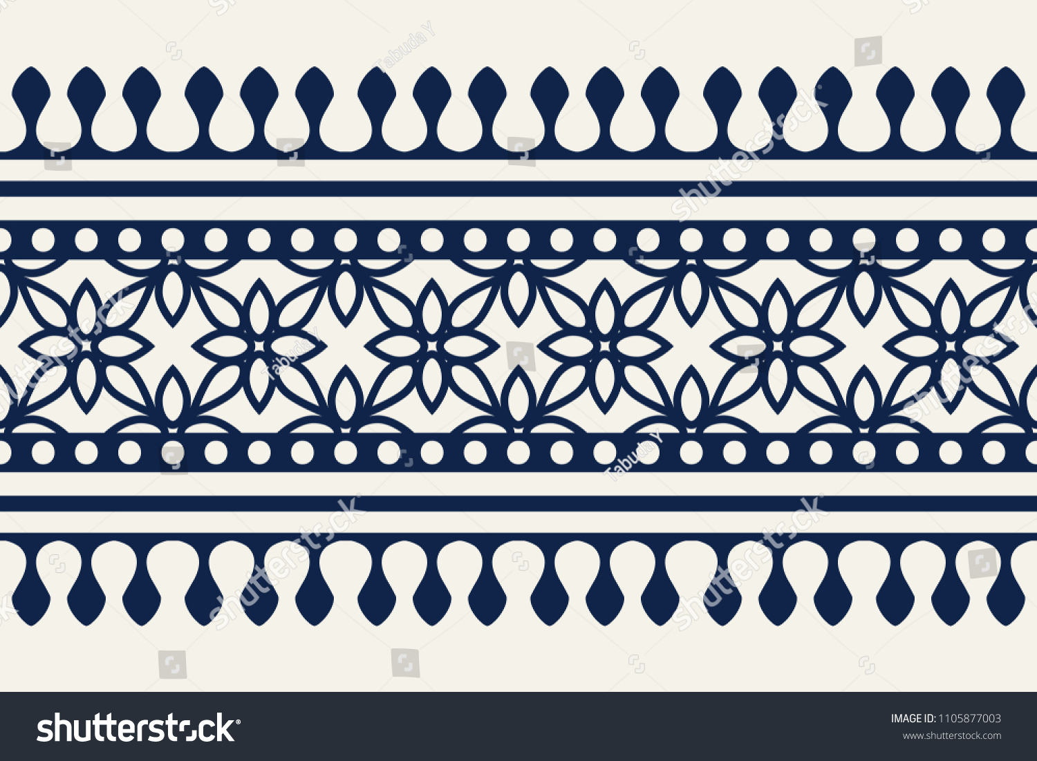 Woodblock printed indigo dye seamless ethnic floral border. Traditional oriental ornament of India Kashmir, geometric flowers motif, navy blue on ecru background. Textile design. #1105877003