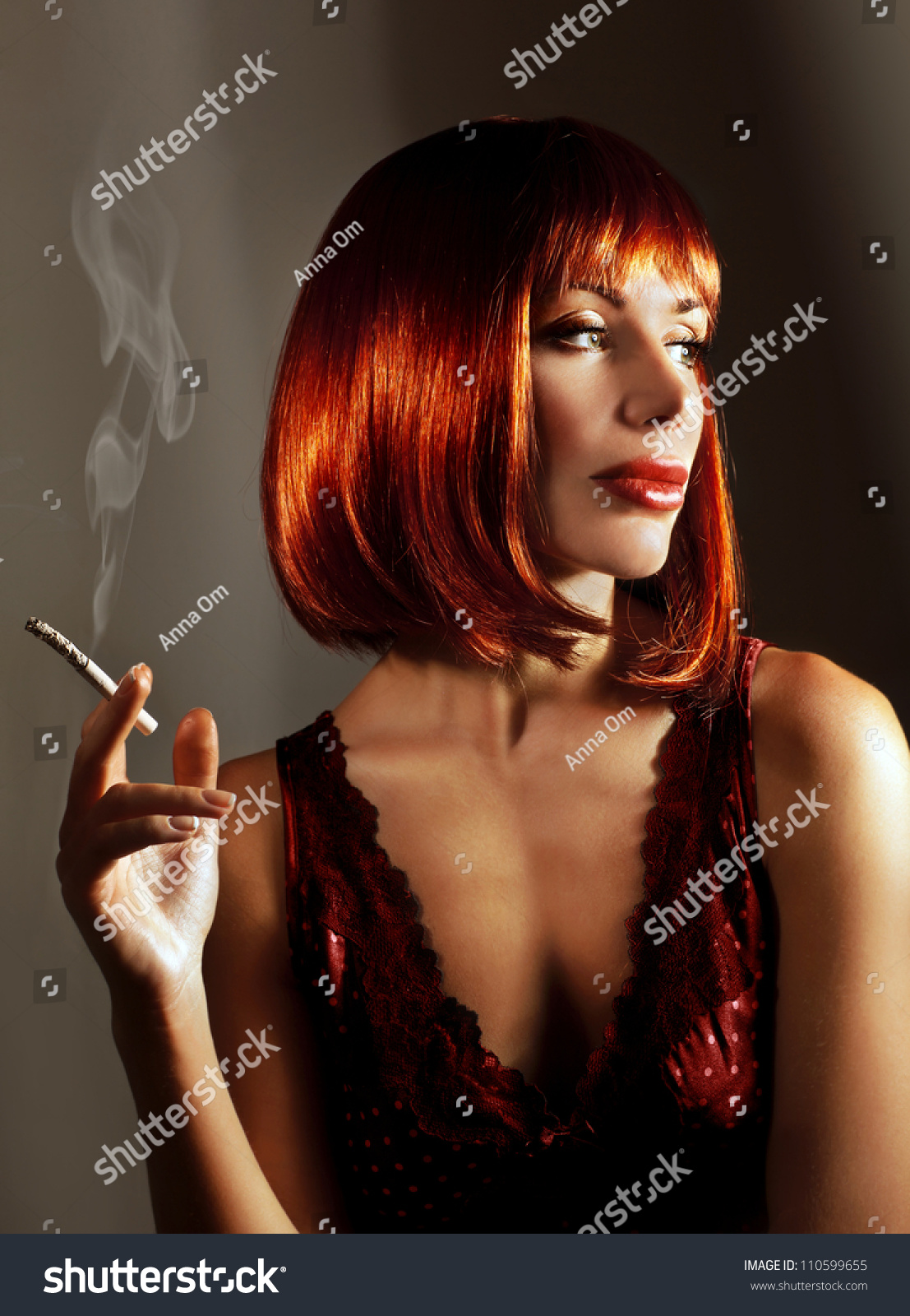 Beautiful Woman Smoke Cigarette Pretty Young Stock Photo Edit Now
