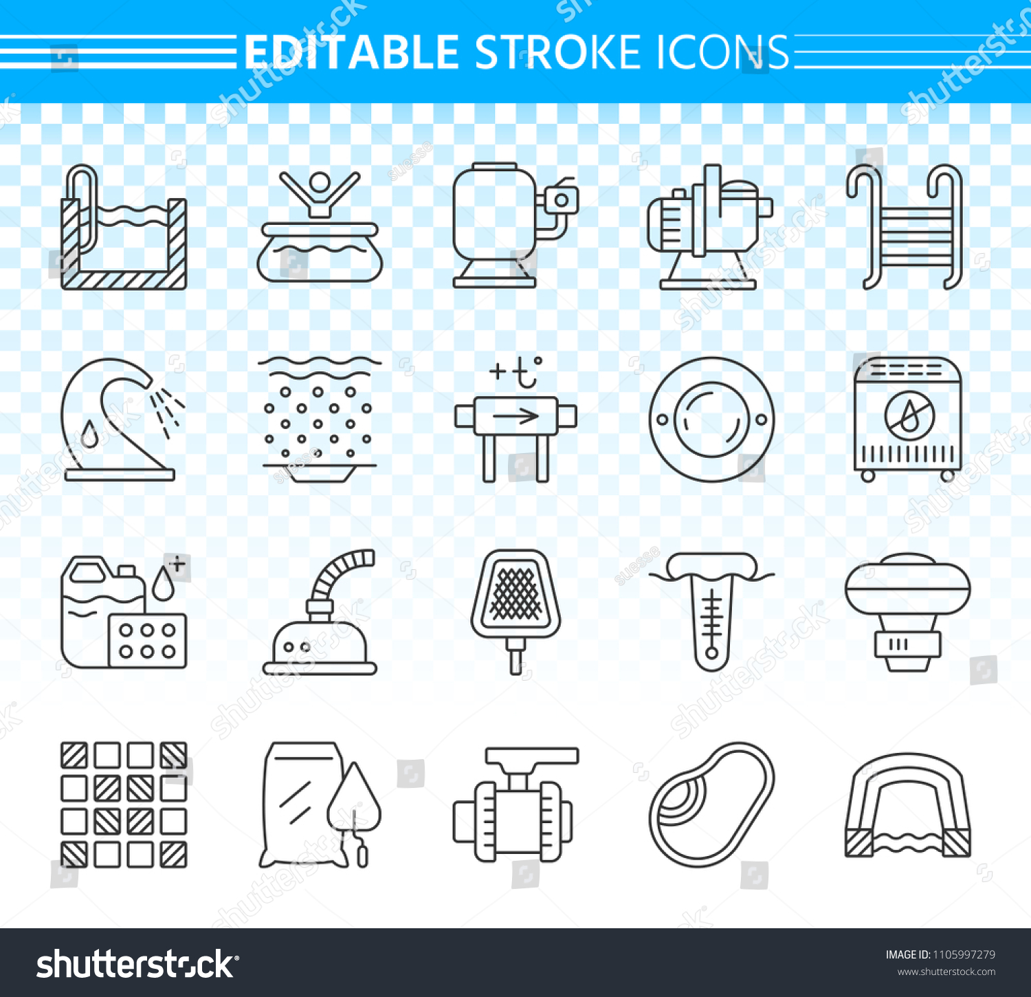 Swimming Pool Thin Line Icons Set Stock Vector Royalty Free