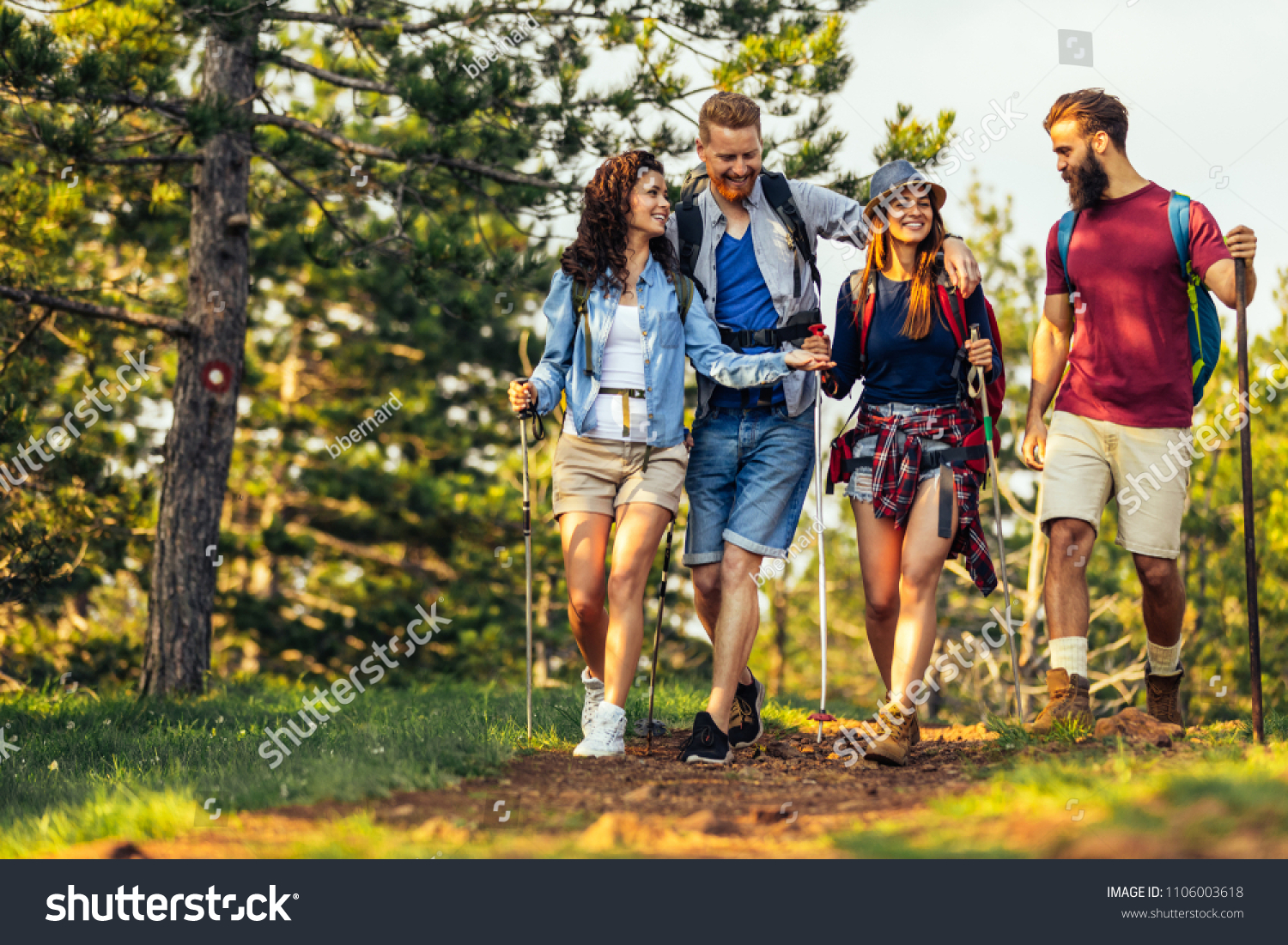 Shot of a group of friends trekking in the mountains #1106003618
