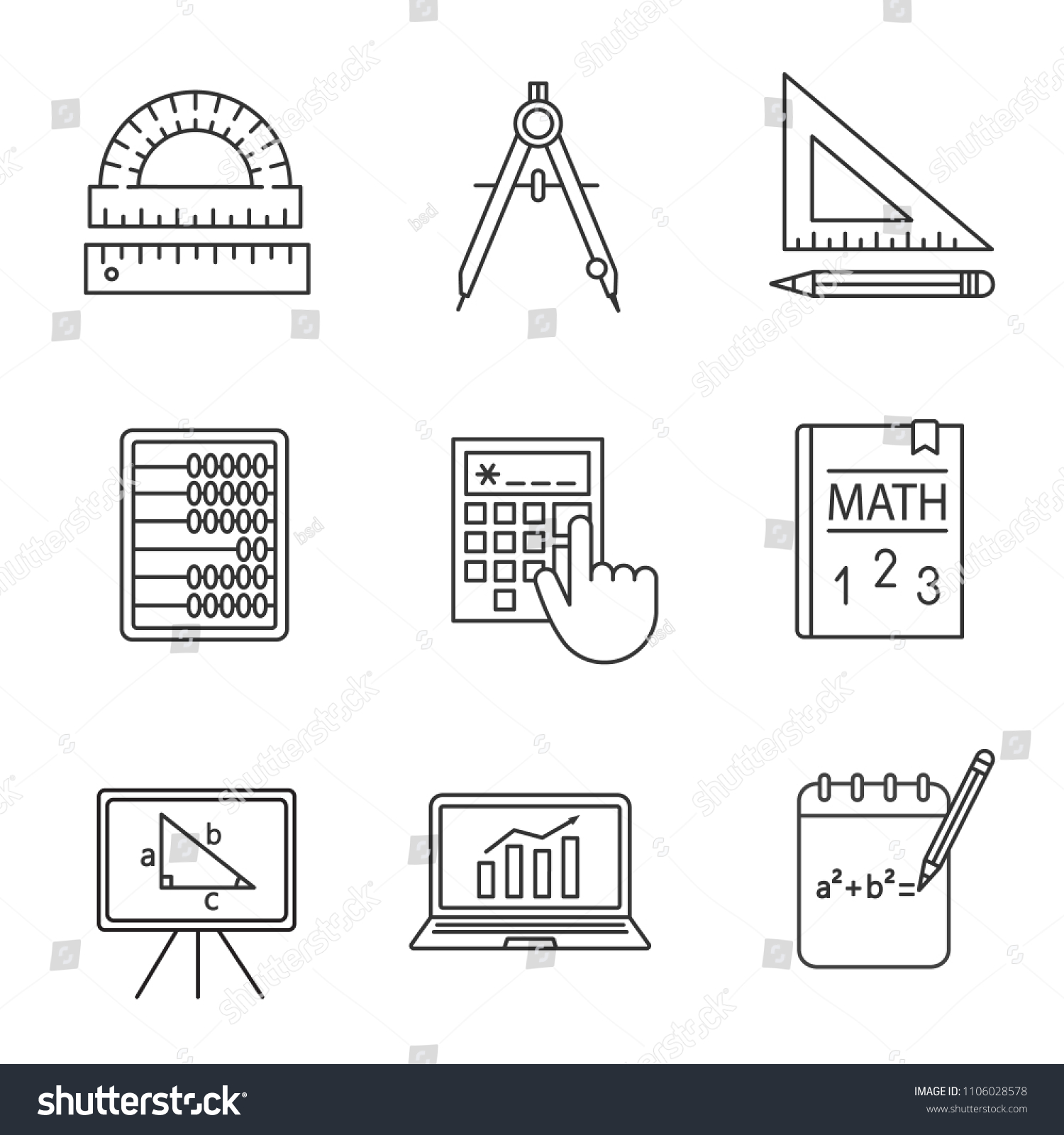 Mathematics Linear Icons Set Geometry Algebra Stock Vector Royalty