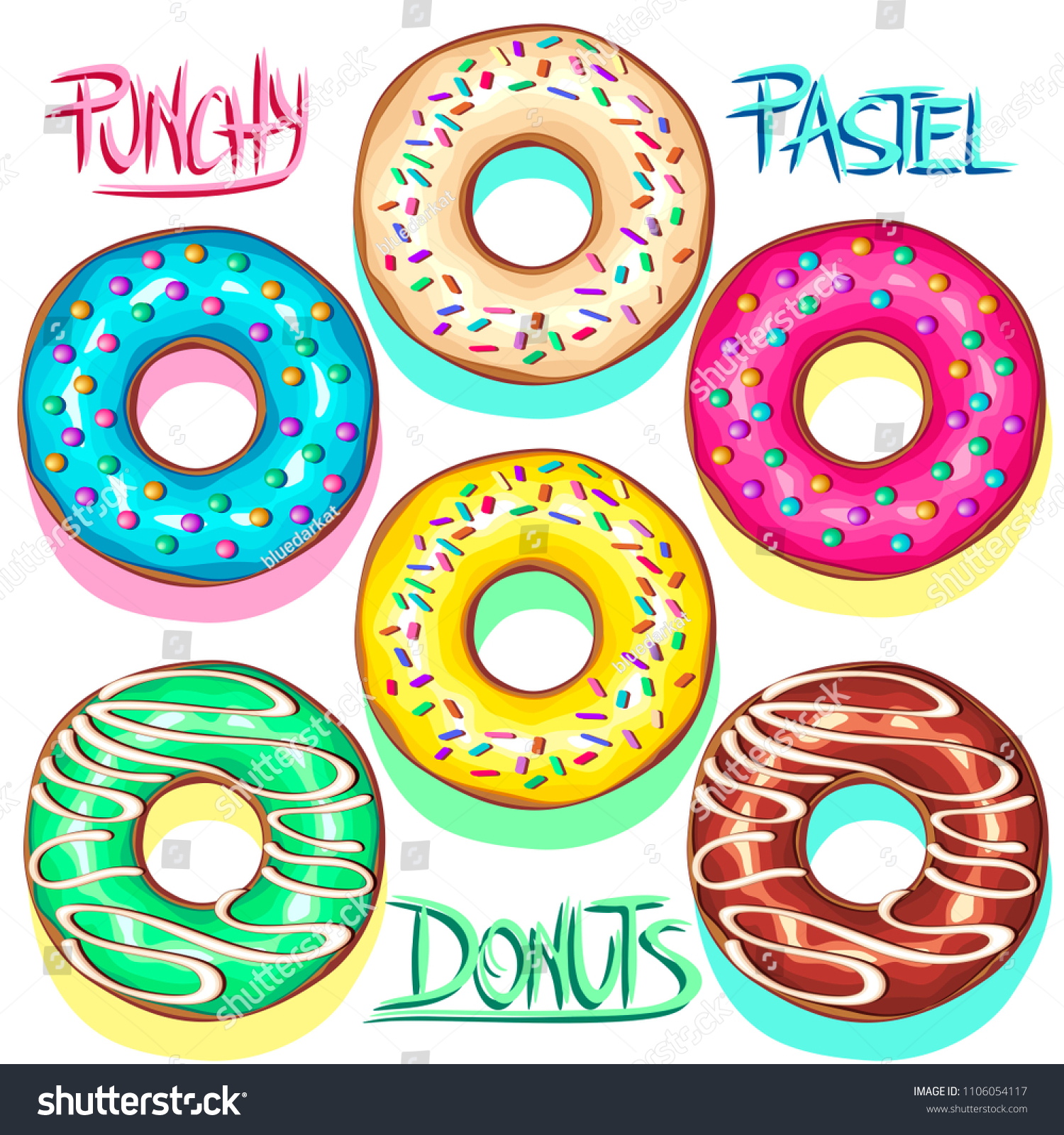 Set of Colorful Punchy Pastel Donuts, showcasing Color trends like Baby Blue, Yellow Mellow, Pink. Delicious and Creamy, and also with Chocolate