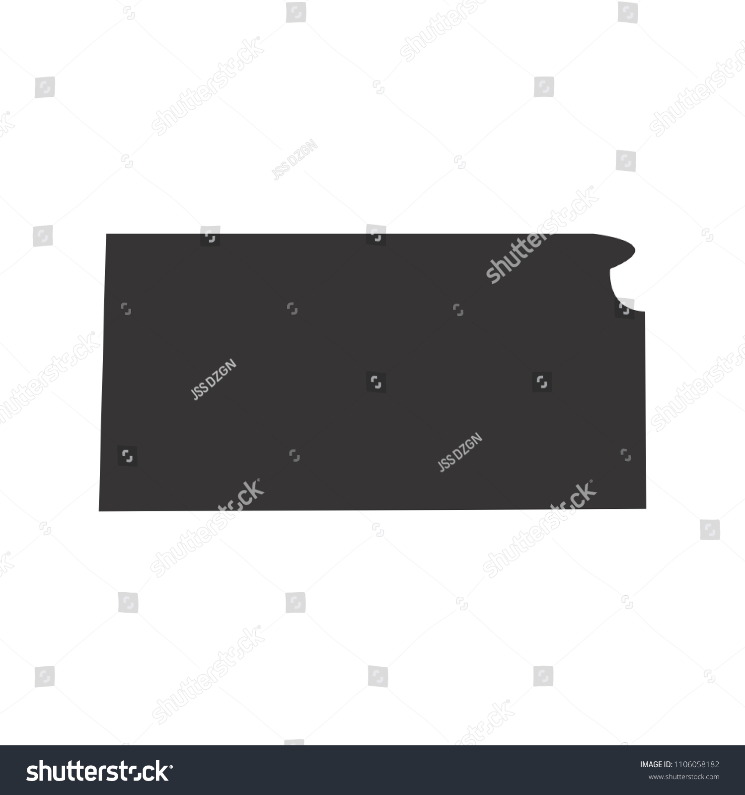 Kansas Map Simple Black Map Vector Stock Vector Royalty Free