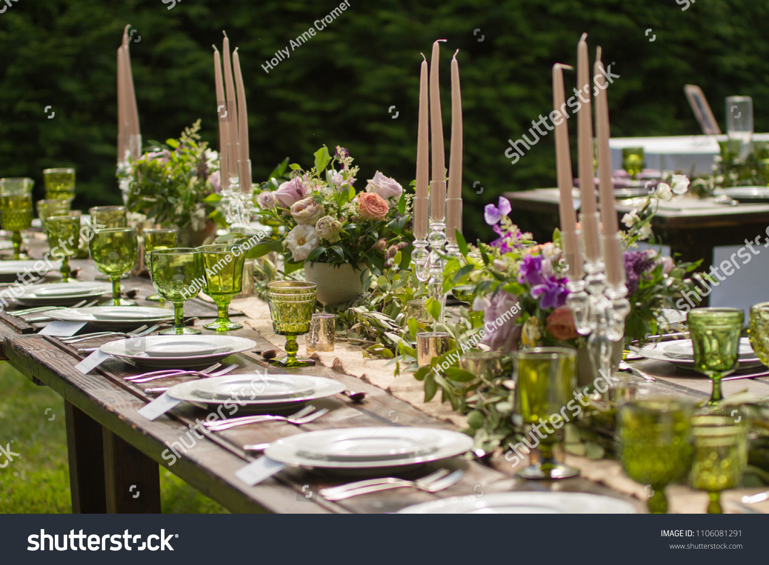 Rustic Wedding Decor Pink Peach Purple | Food and Drink Stock Image  1106081291
