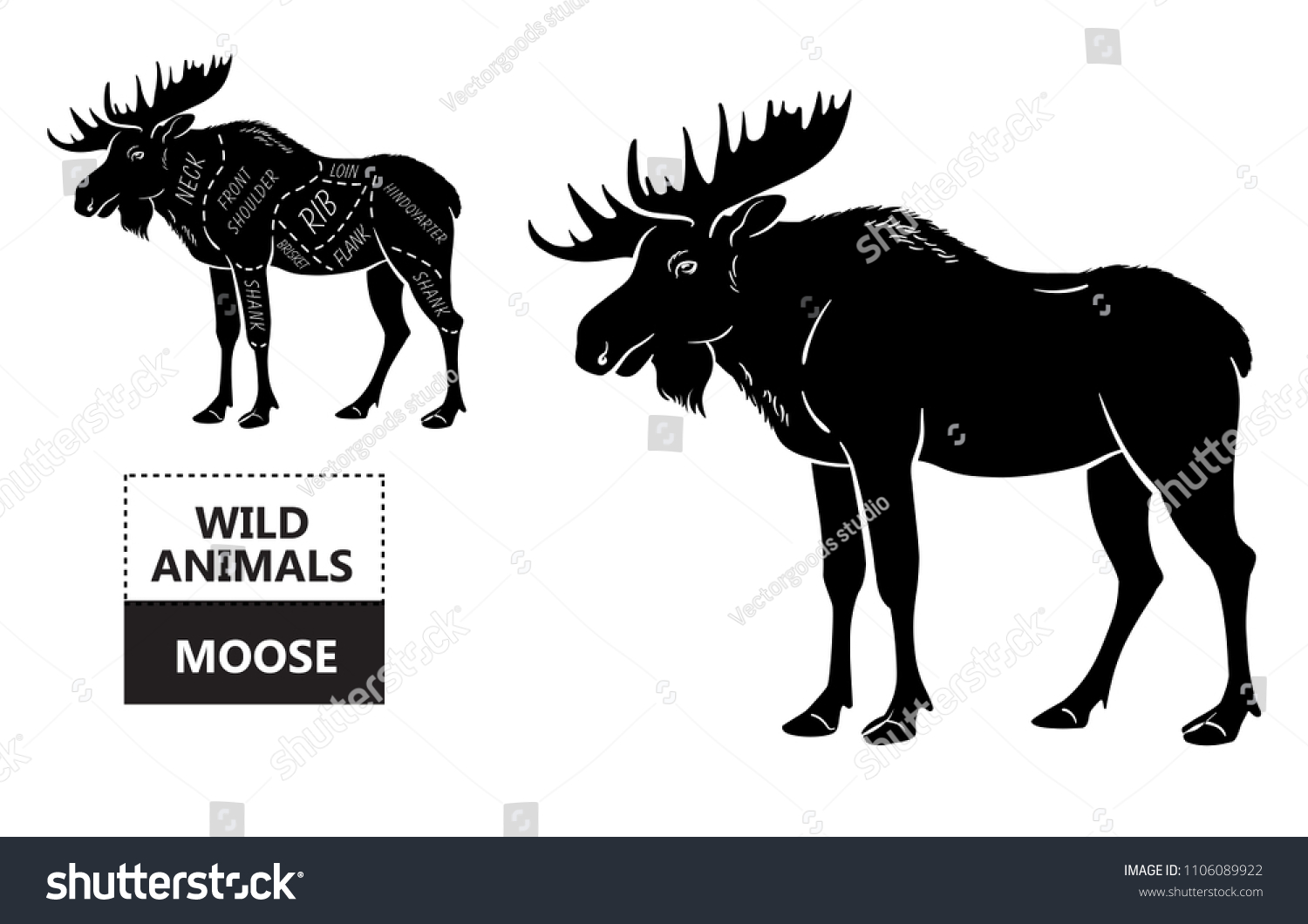 Cu Deer Butchering Diagram Electrical Wiring Butcher Cut Elk Set Poster Stock Vector Royalty Free