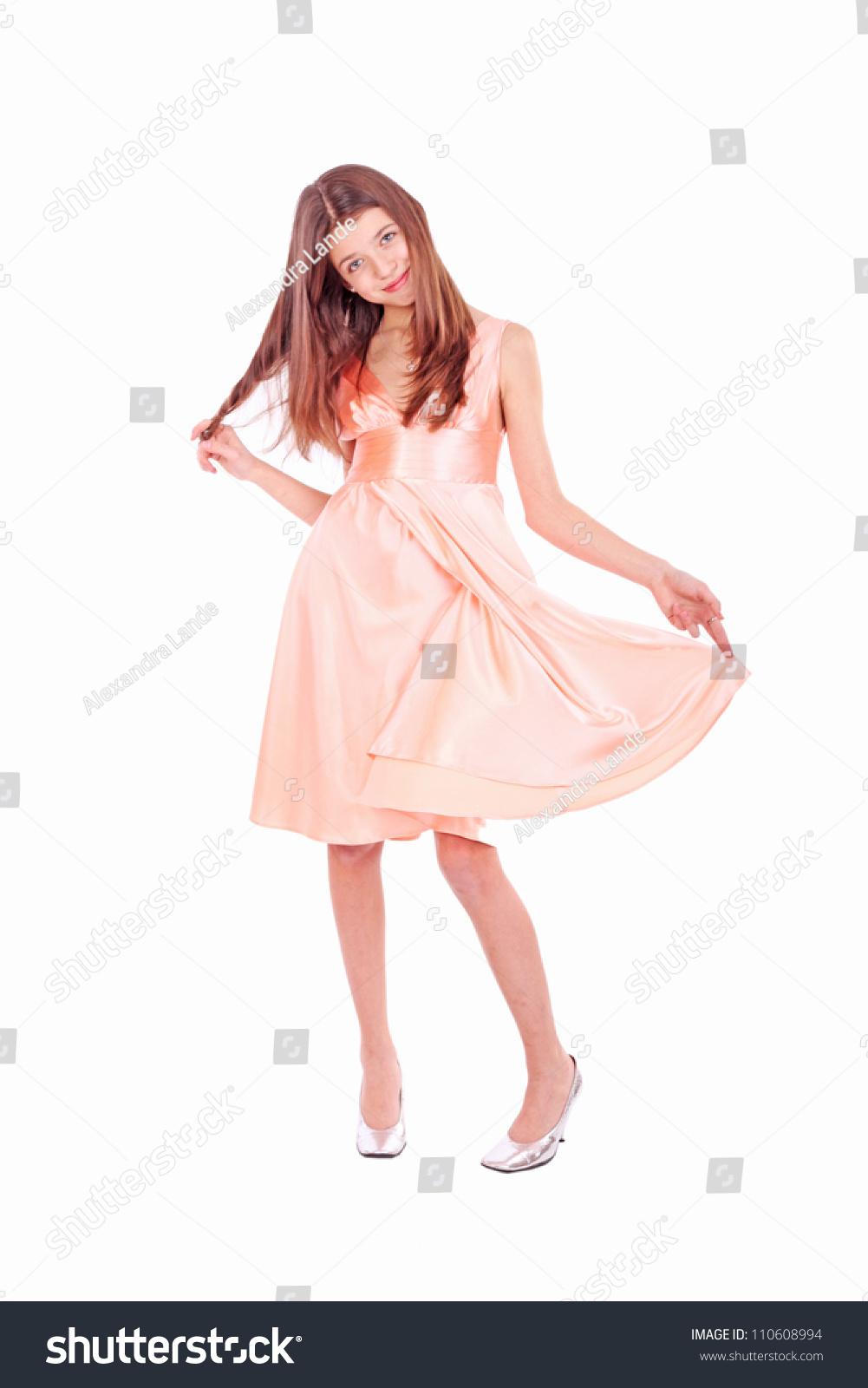 Nice Teen Girl Pink Dress Stockfoto (Lizenzfrei) 110608994 ...