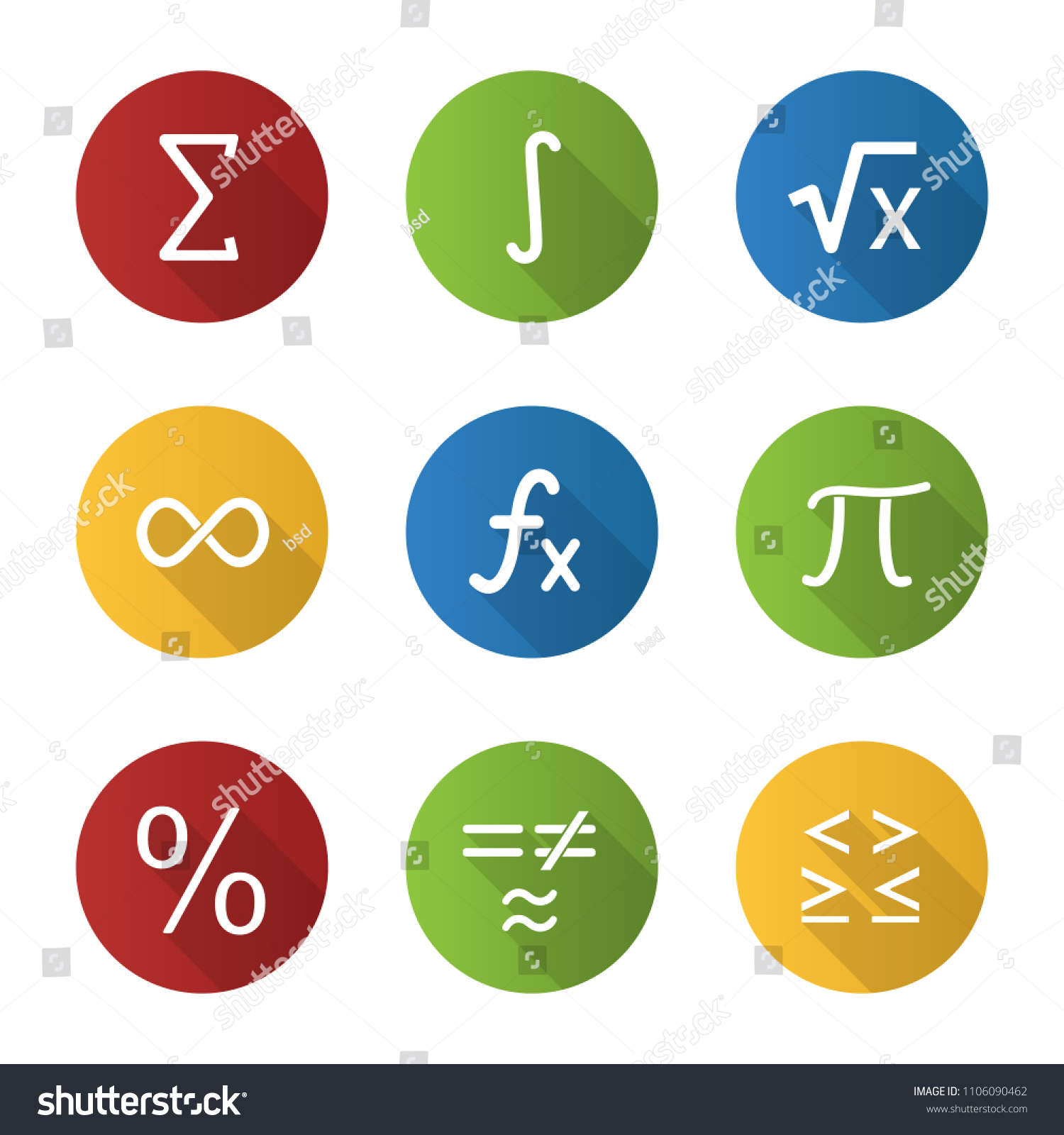 Mathematics flat design long shadow glyph icons set. Math symbols. Algebra. Vector silhouette illustration #1106090462